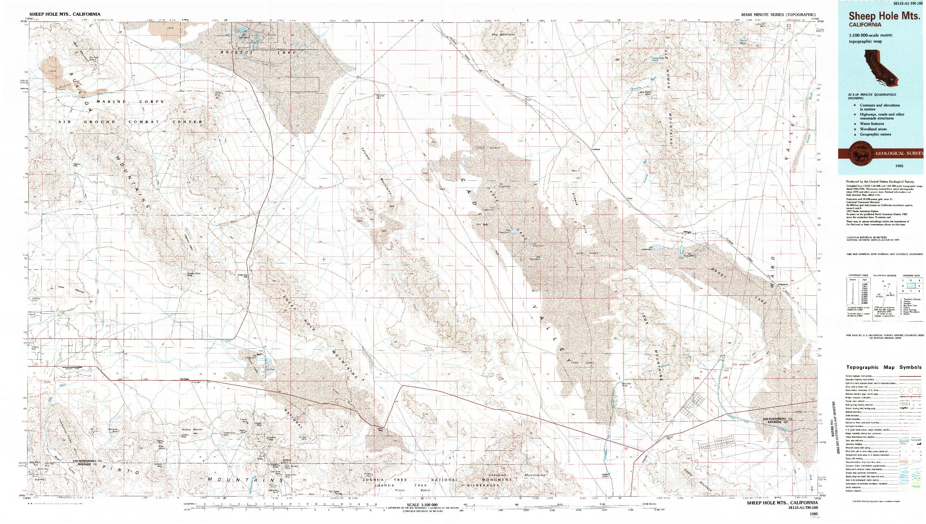USGS 1:100000-SCALE QUADRANGLE FOR SHEEP HOLE MOUNTAINS, CA 1985