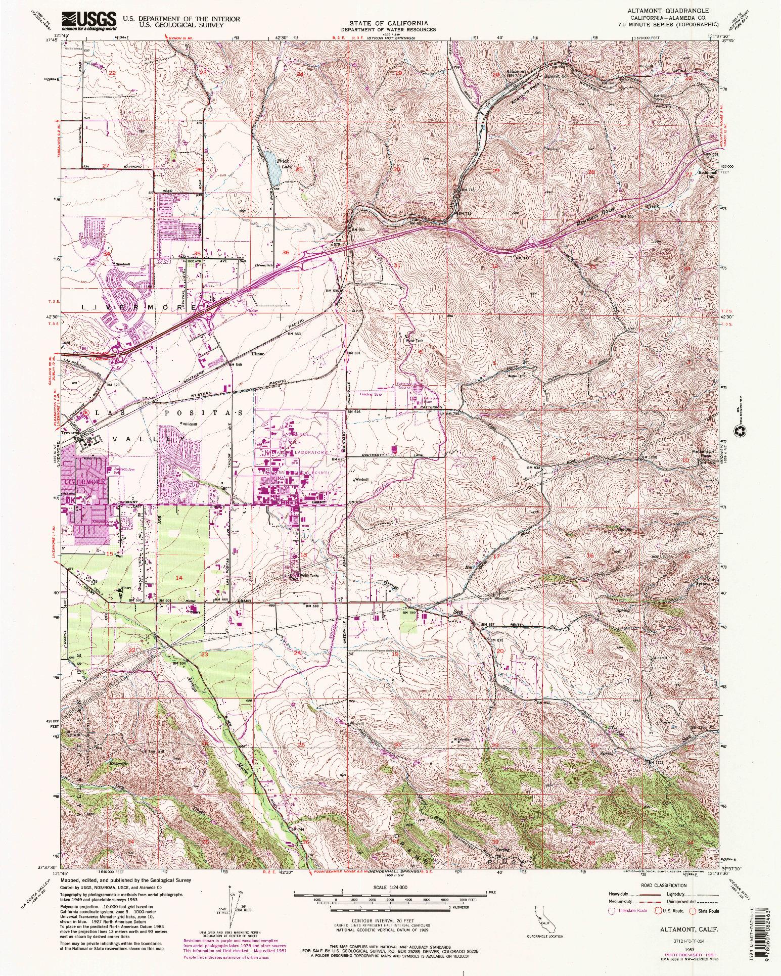 USGS 1:24000-SCALE QUADRANGLE FOR ALTAMONT, CA 1953