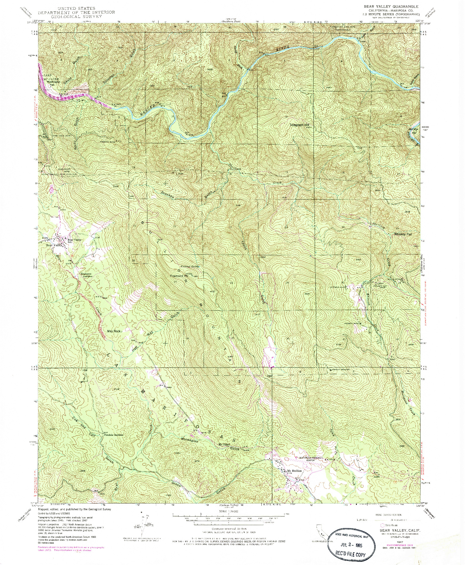 USGS 1:24000-SCALE QUADRANGLE FOR BEAR VALLEY, CA 1947