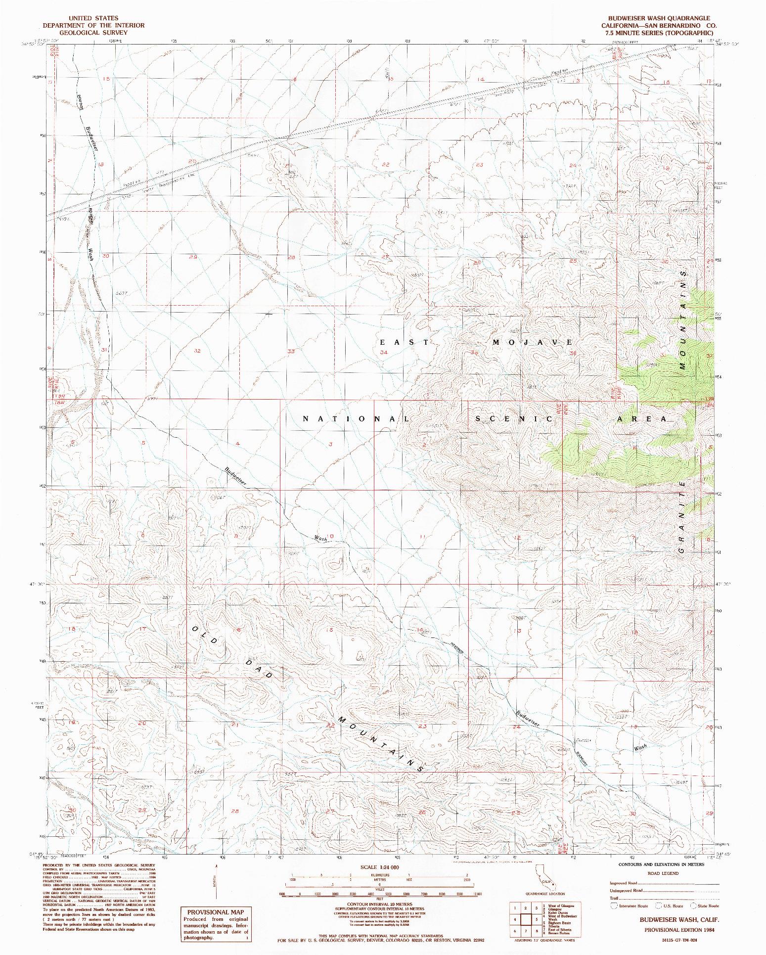 USGS 1:24000-SCALE QUADRANGLE FOR BUDWEISER WASH, CA 1984