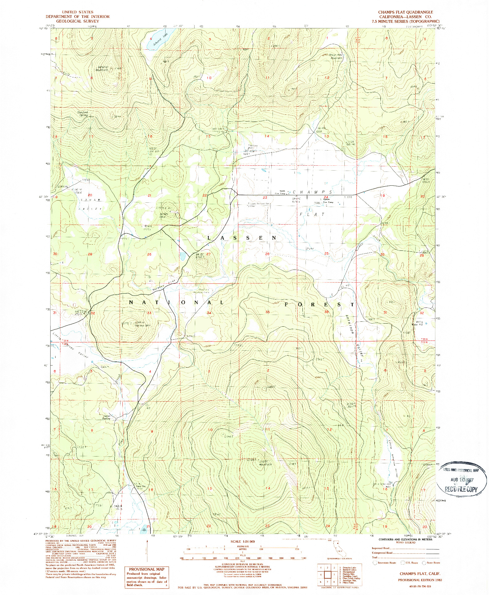 USGS 1:24000-SCALE QUADRANGLE FOR CHAMPS FLAT, CA 1983