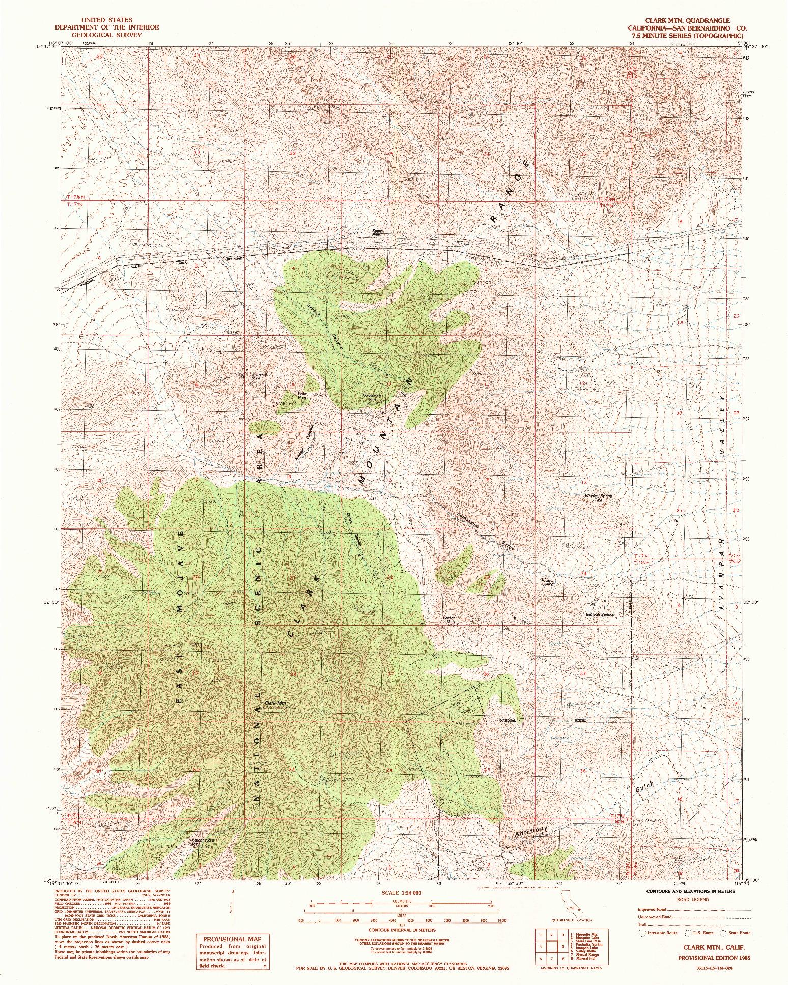USGS 1:24000-SCALE QUADRANGLE FOR CLARK MTN., CA 1985