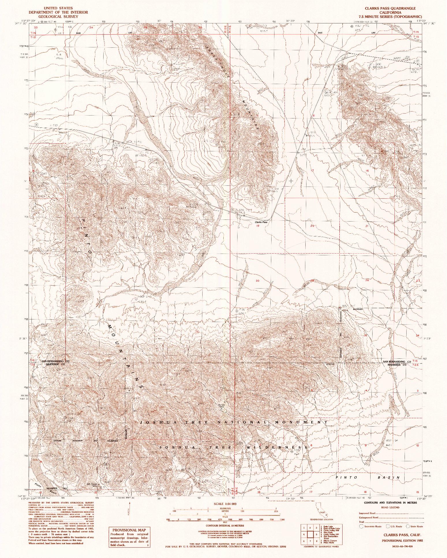 USGS 1:24000-SCALE QUADRANGLE FOR CLARKS PASS, CA 1985