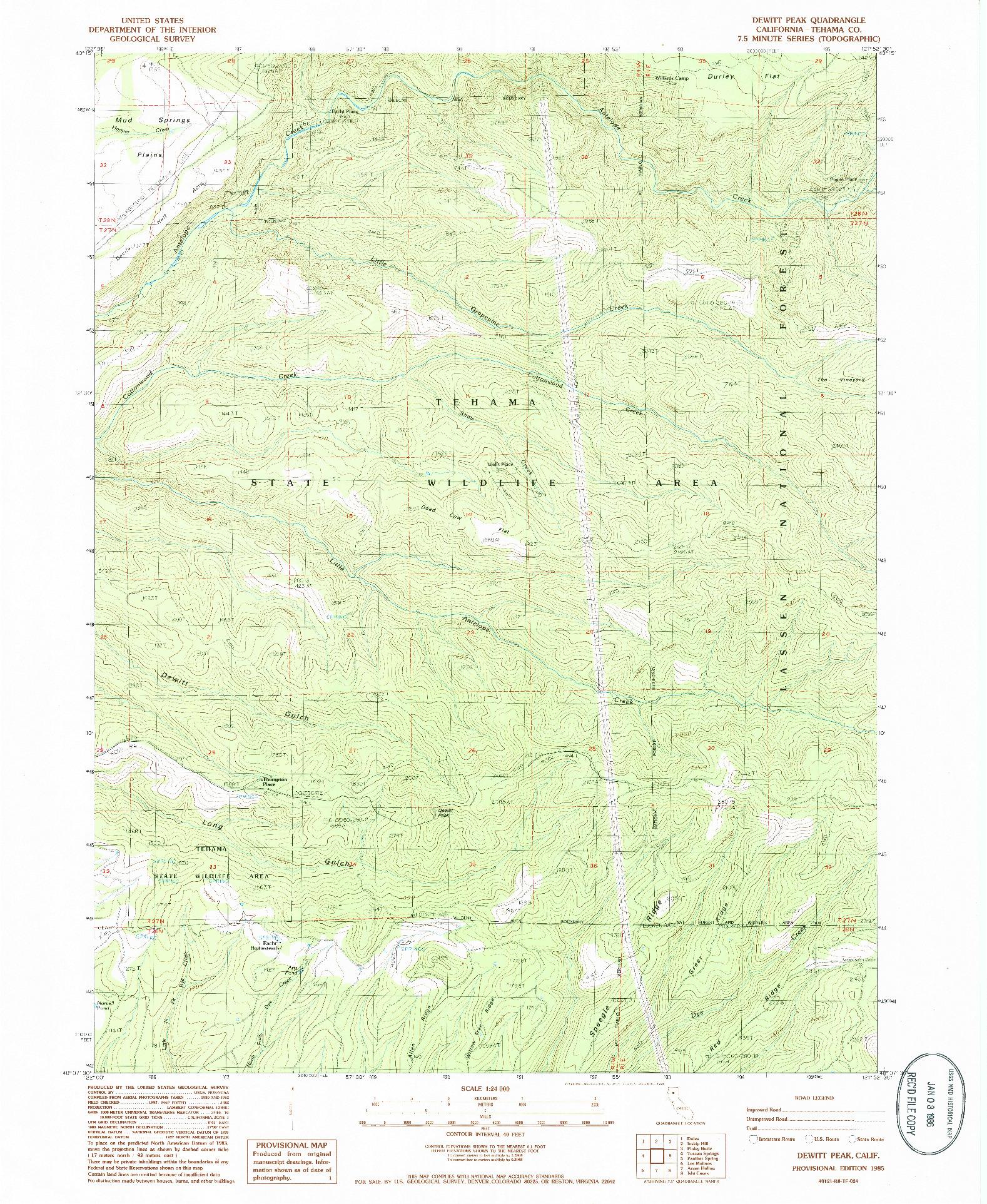 USGS 1:24000-SCALE QUADRANGLE FOR DEWITT PEAK, CA 1985