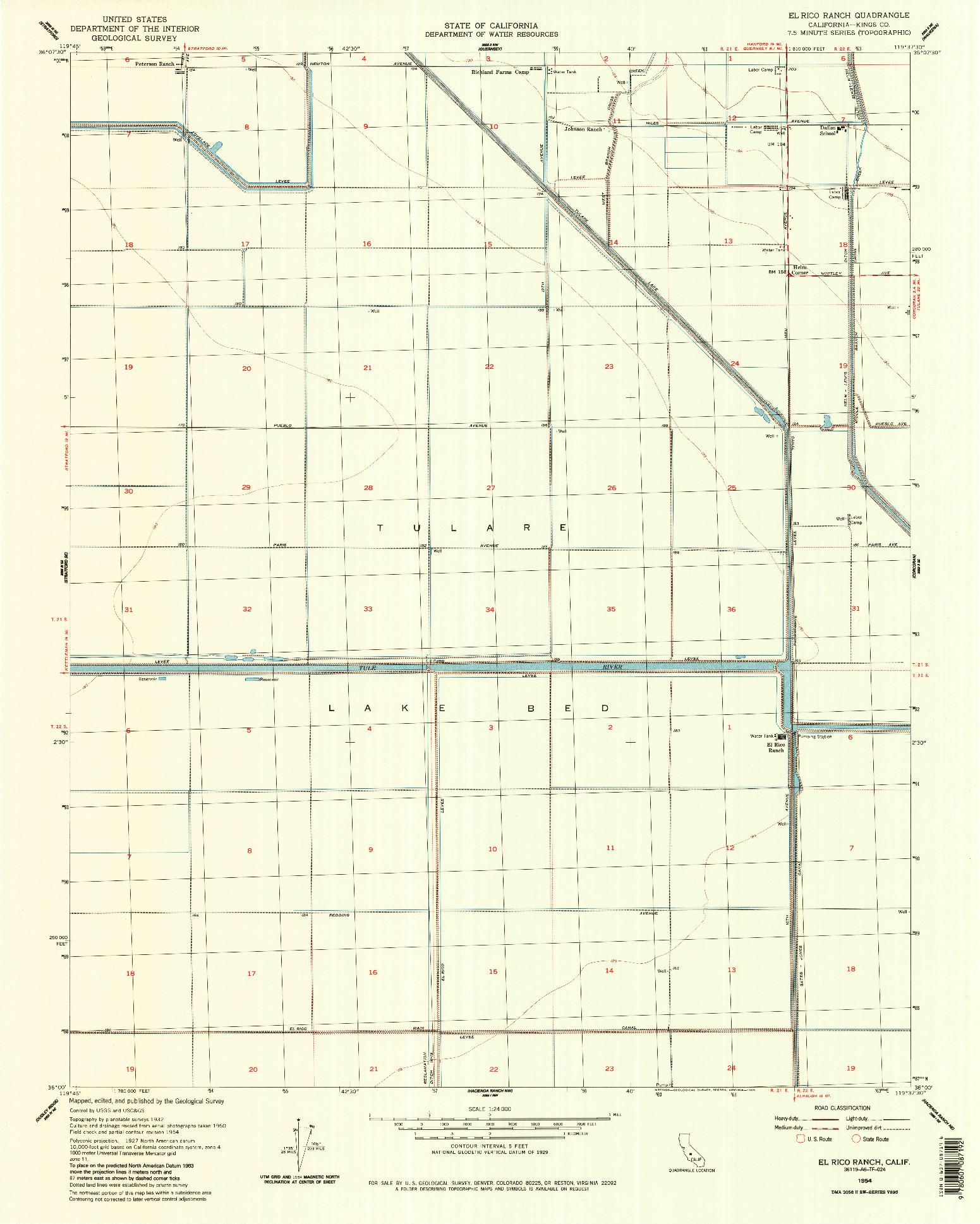 USGS 1:24000-SCALE QUADRANGLE FOR EL RICO RANCH, CA 1954