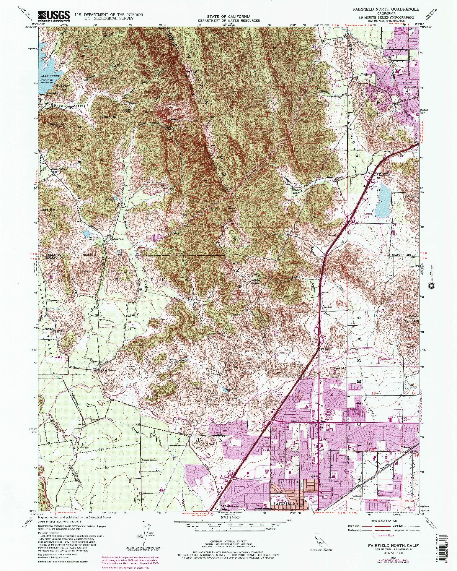 USGS 1:24000-SCALE QUADRANGLE FOR FAIRFIELD NORTH, CA 1951