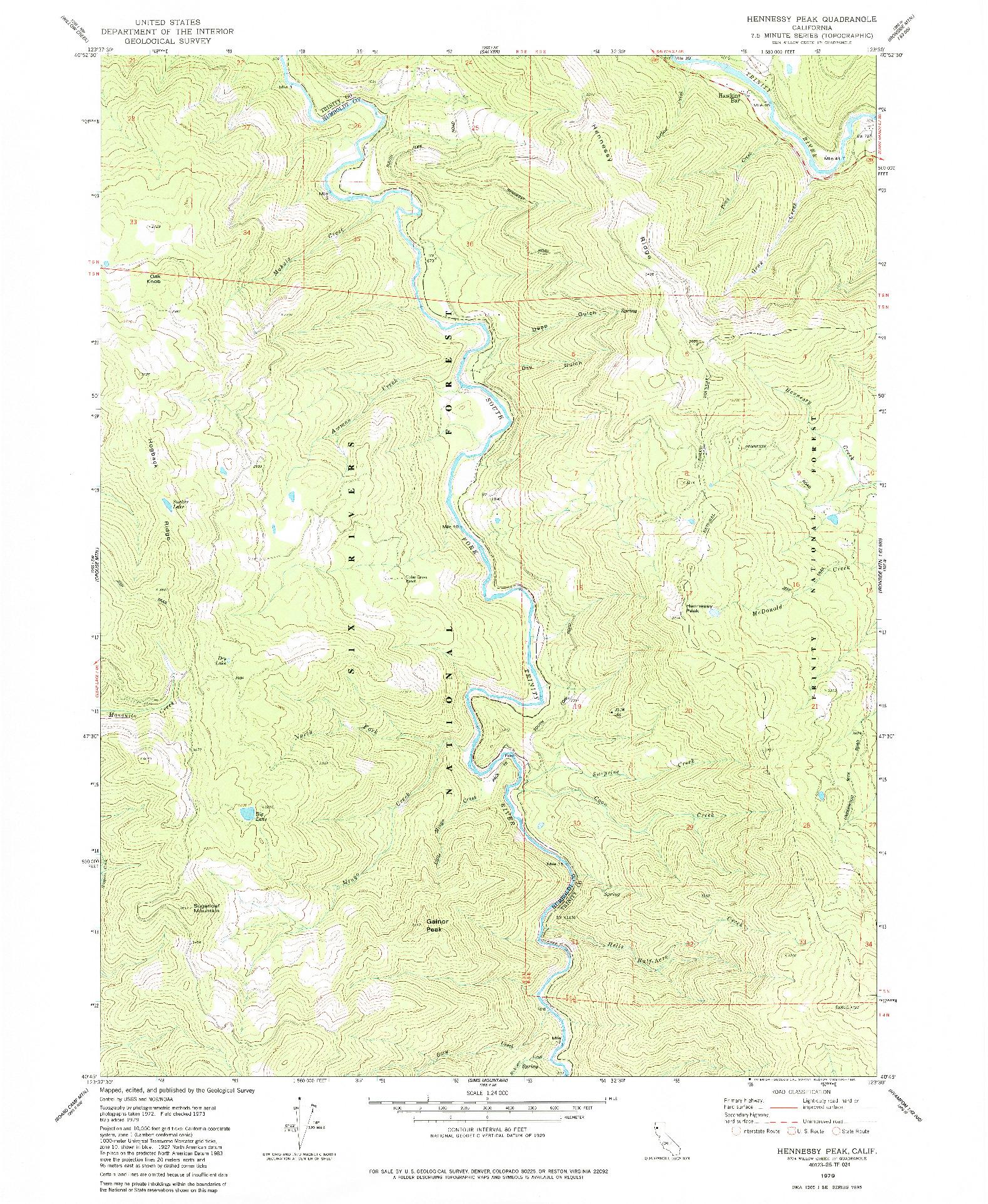 USGS 1:24000-SCALE QUADRANGLE FOR HENNESSY PEAK, CA 1979