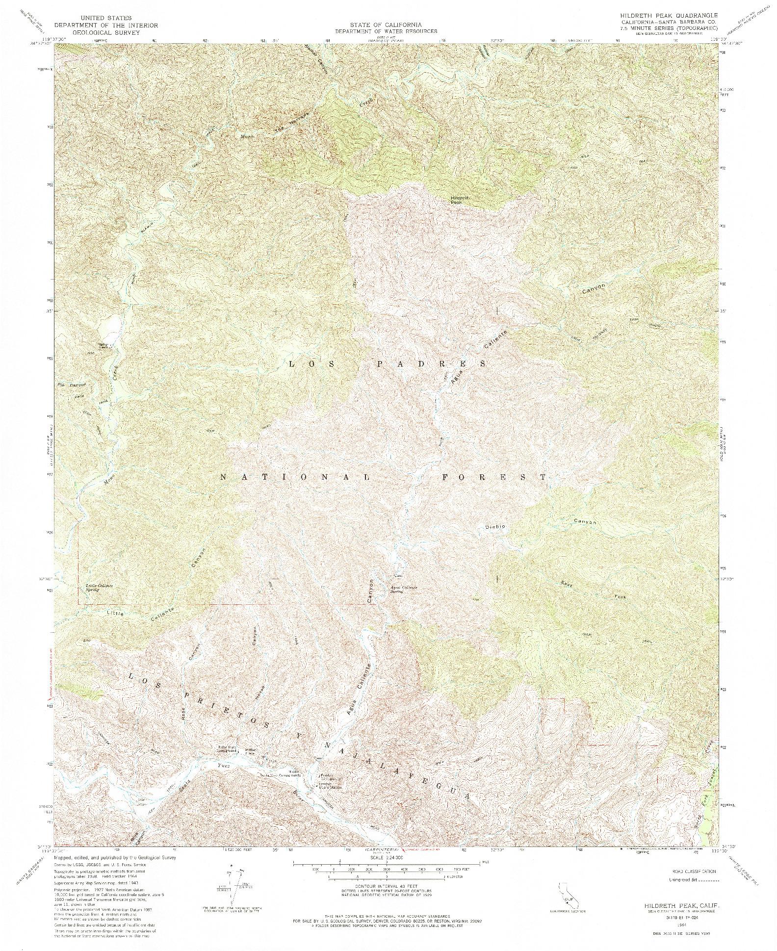 USGS 1:24000-SCALE QUADRANGLE FOR HILDRETH PEAK, CA 1964