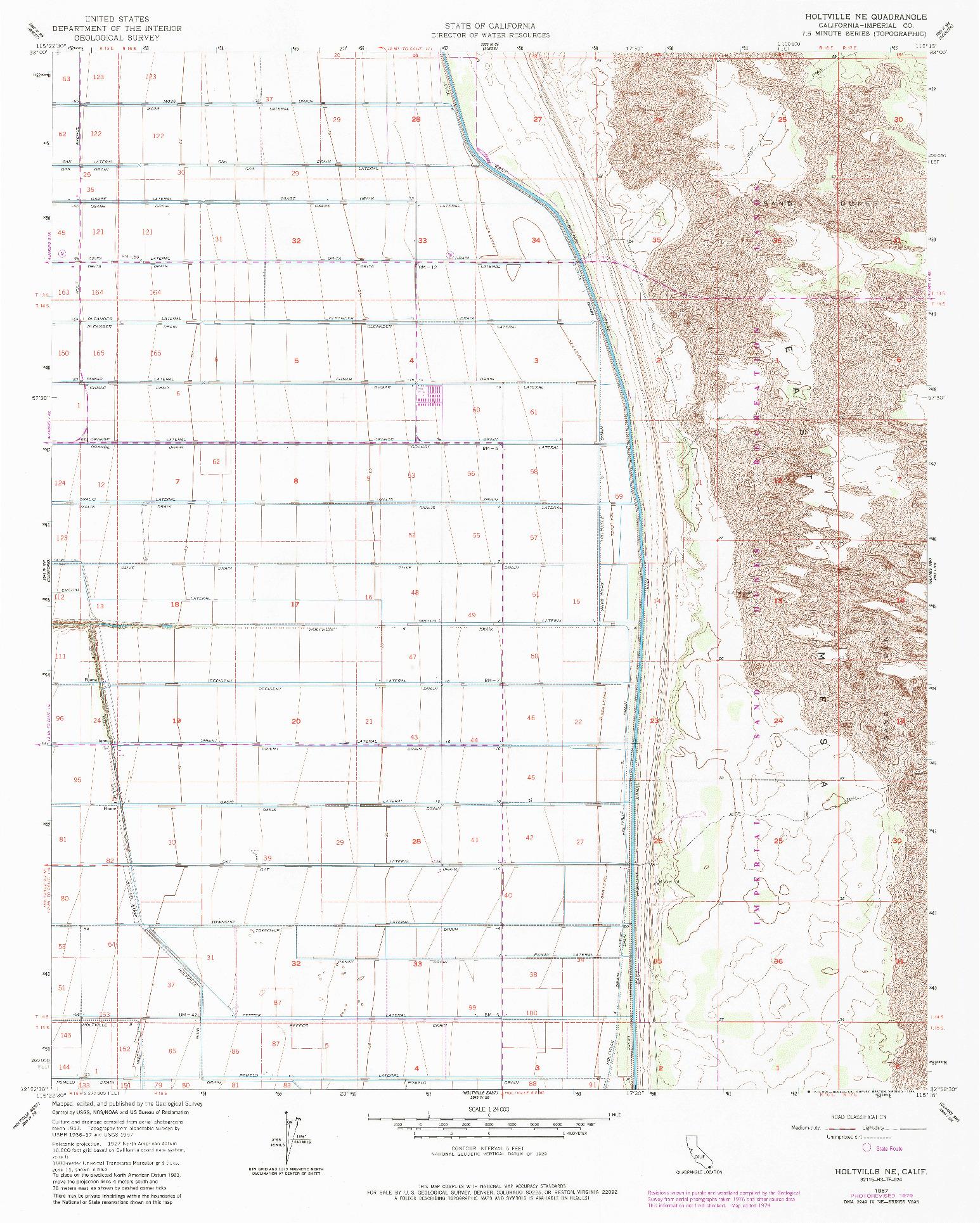 USGS 1:24000-SCALE QUADRANGLE FOR HOLTVILLE NE, CA 1957