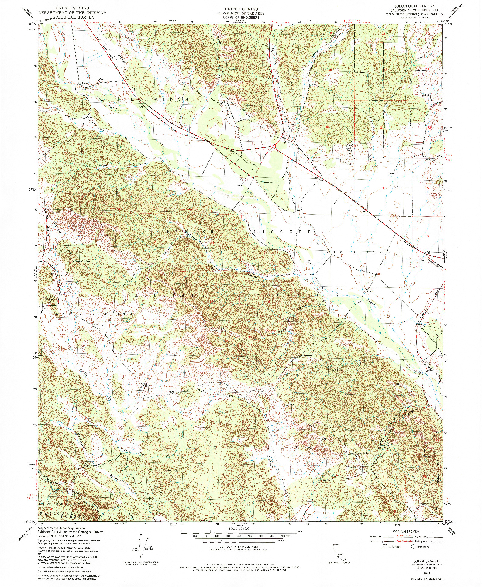 USGS 1:24000-SCALE QUADRANGLE FOR JOLON, CA 1949