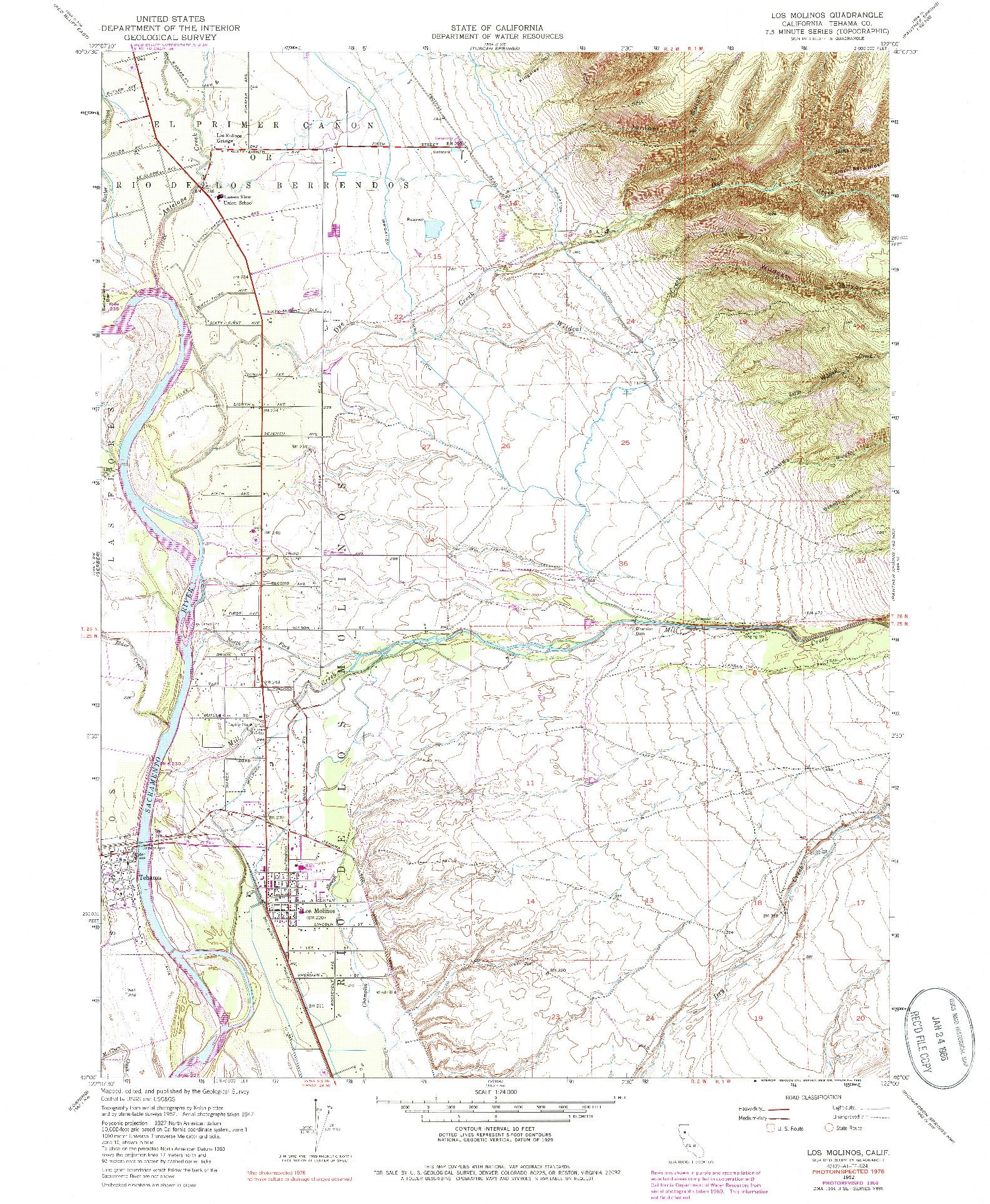 USGS 1:24000-SCALE QUADRANGLE FOR LOS MOLINOS, CA 1952