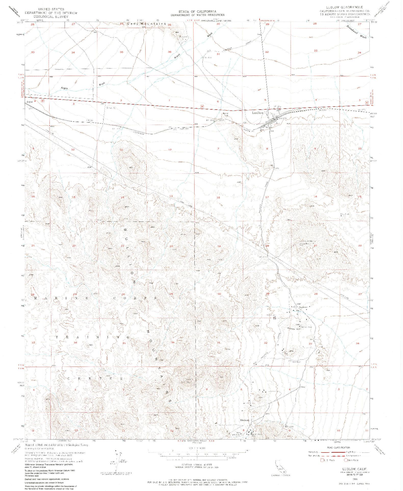 USGS 1:24000-SCALE QUADRANGLE FOR LUDLOW, CA 1955