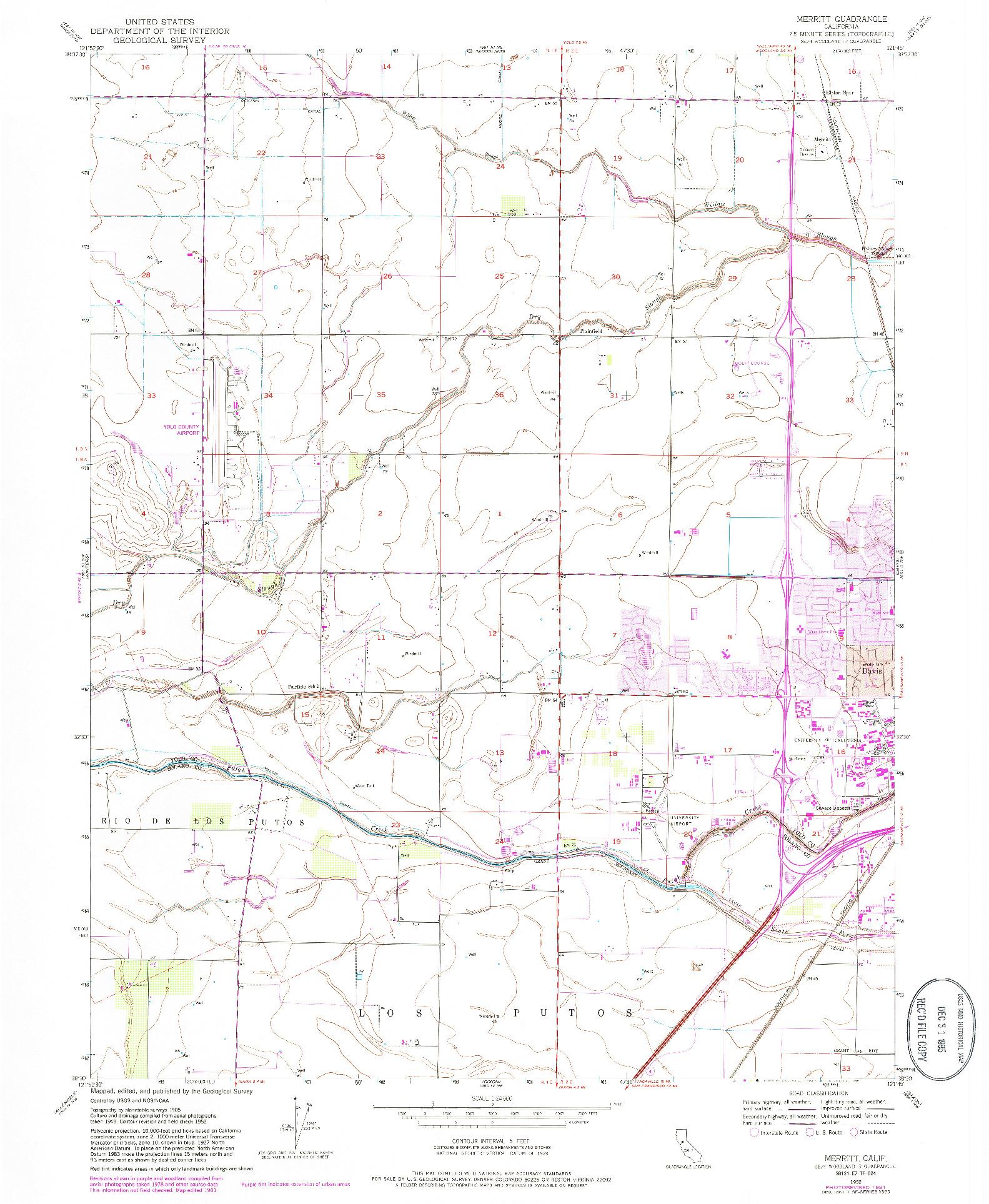 USGS 1:24000-SCALE QUADRANGLE FOR MERRITT, CA 1952