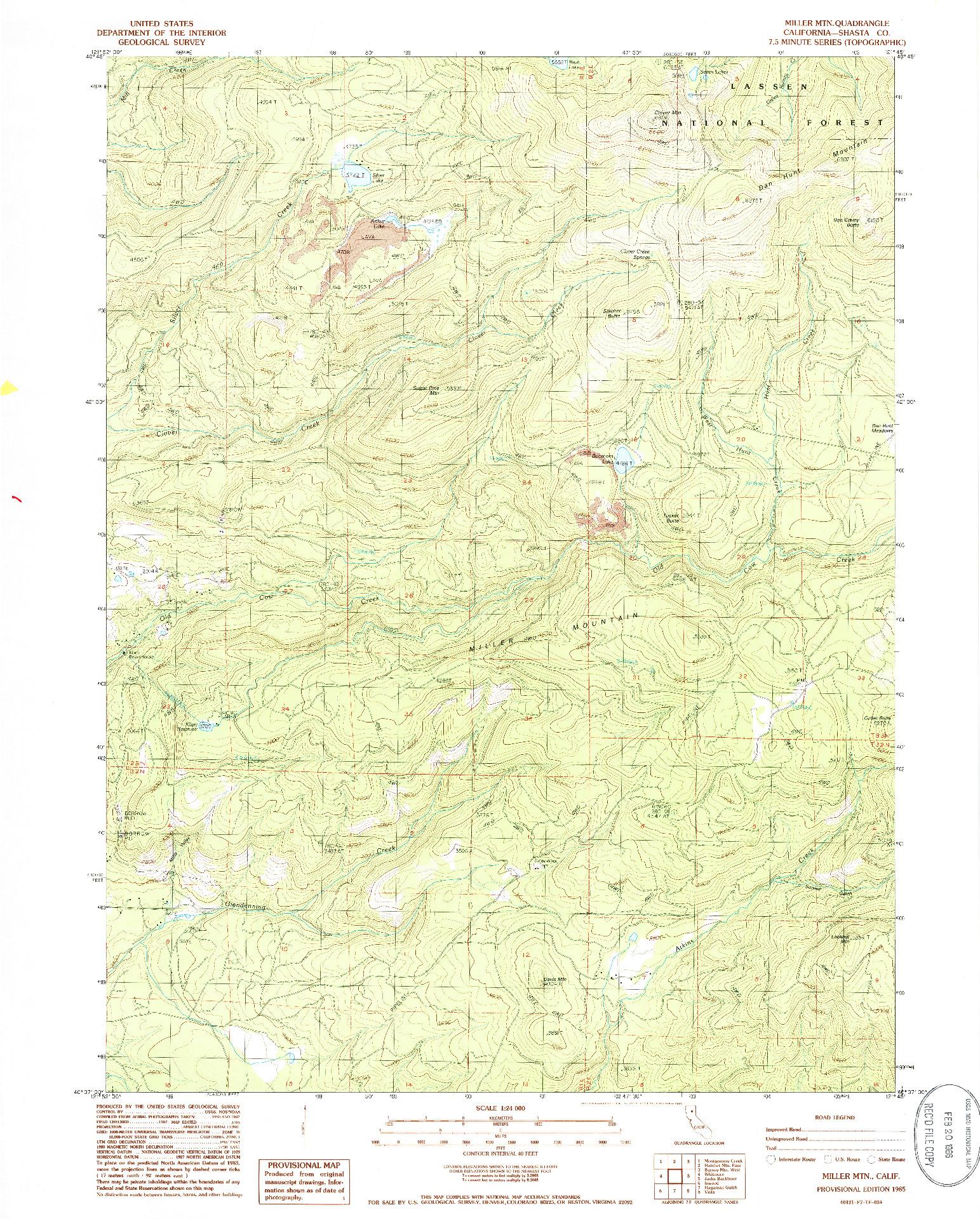 USGS 1:24000-SCALE QUADRANGLE FOR MILLER MOUNTAIN, CA 1985