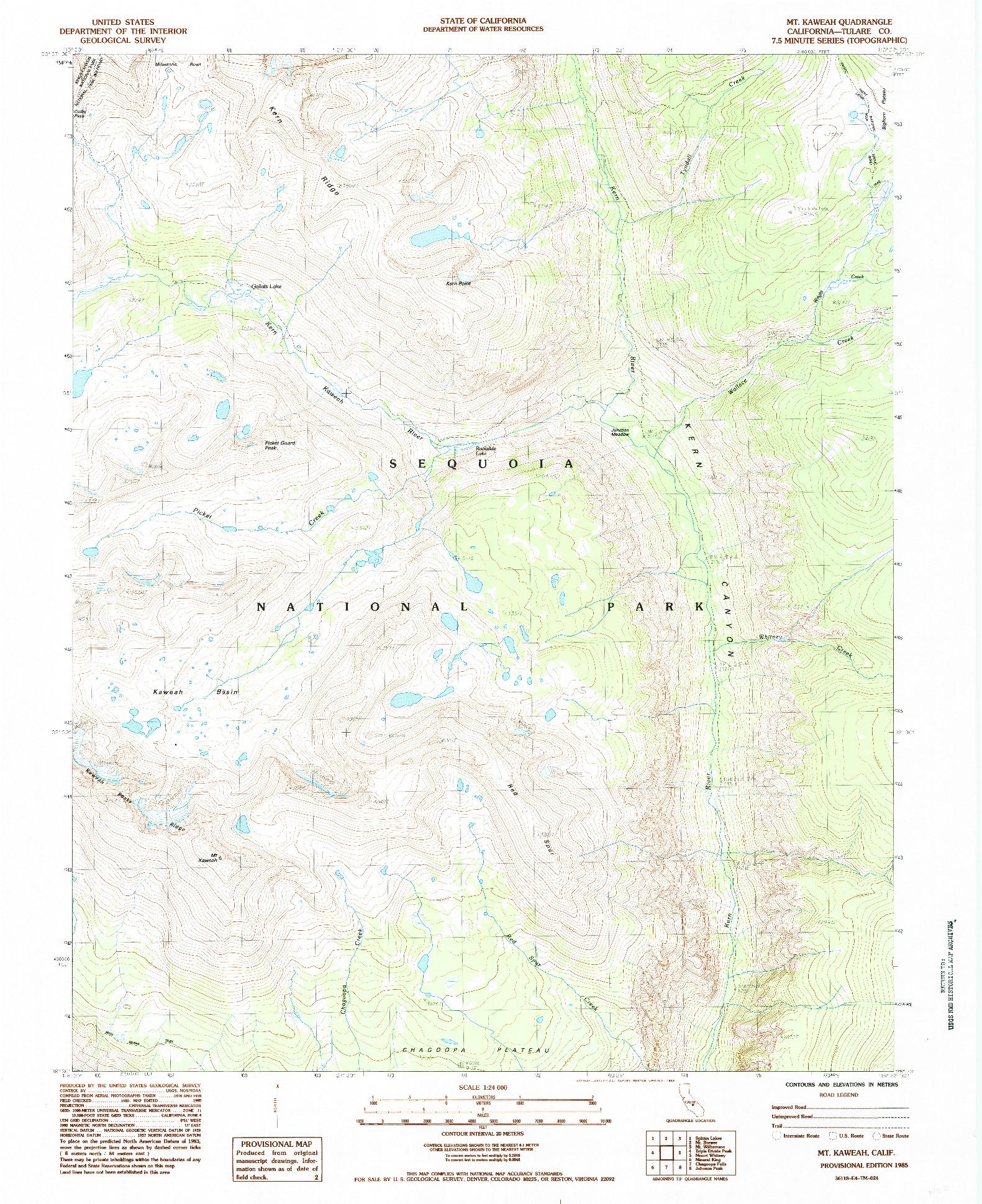 USGS 1:24000-SCALE QUADRANGLE FOR MT. KAWEAH, CA 1985