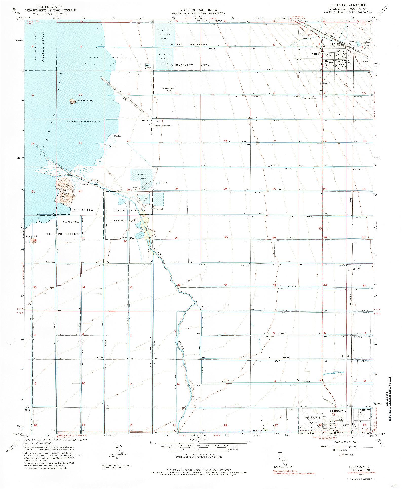 USGS 1:24000-SCALE QUADRANGLE FOR NILAND, CA 1956