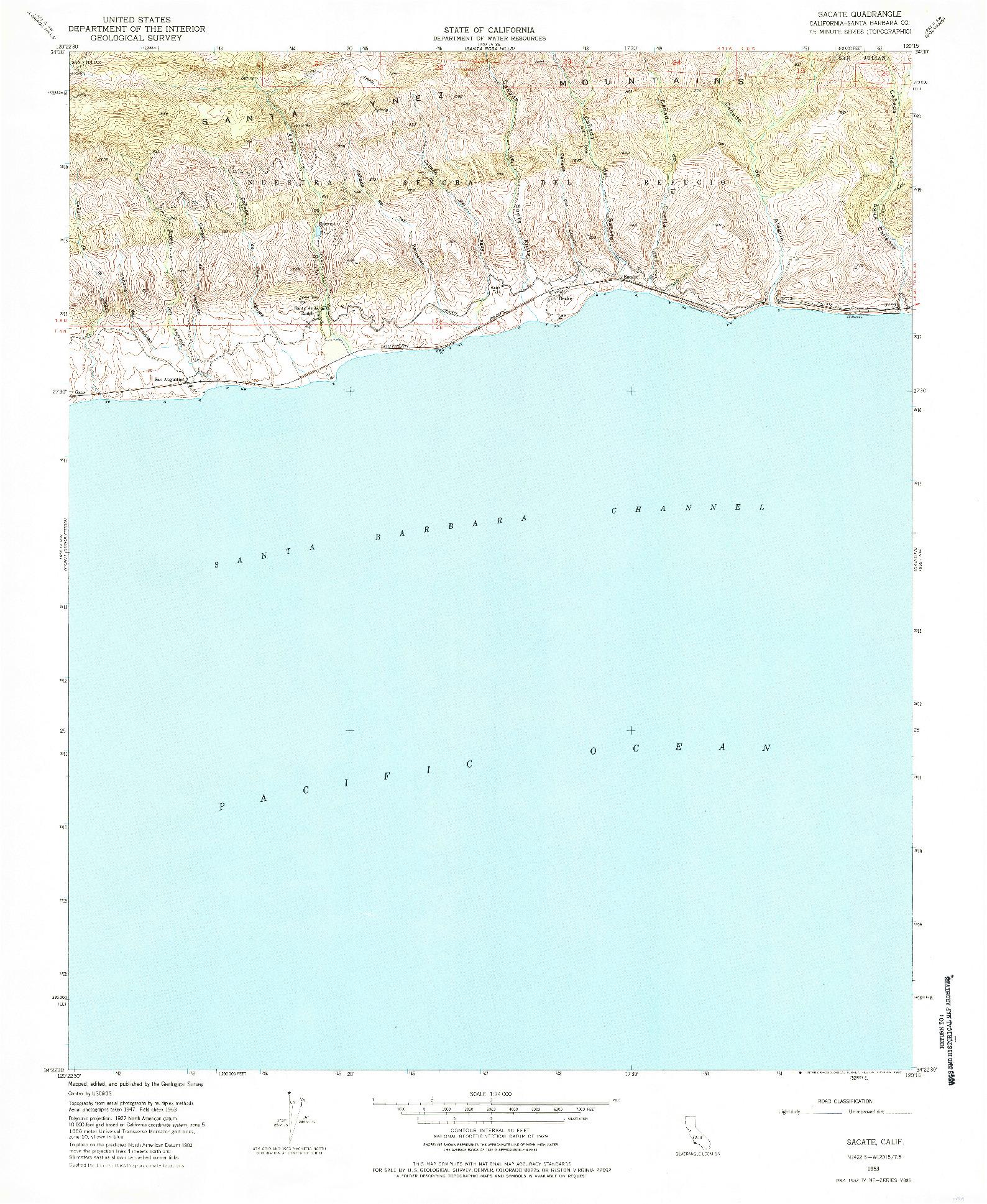 USGS 1:24000-SCALE QUADRANGLE FOR SACATE, CA 1953