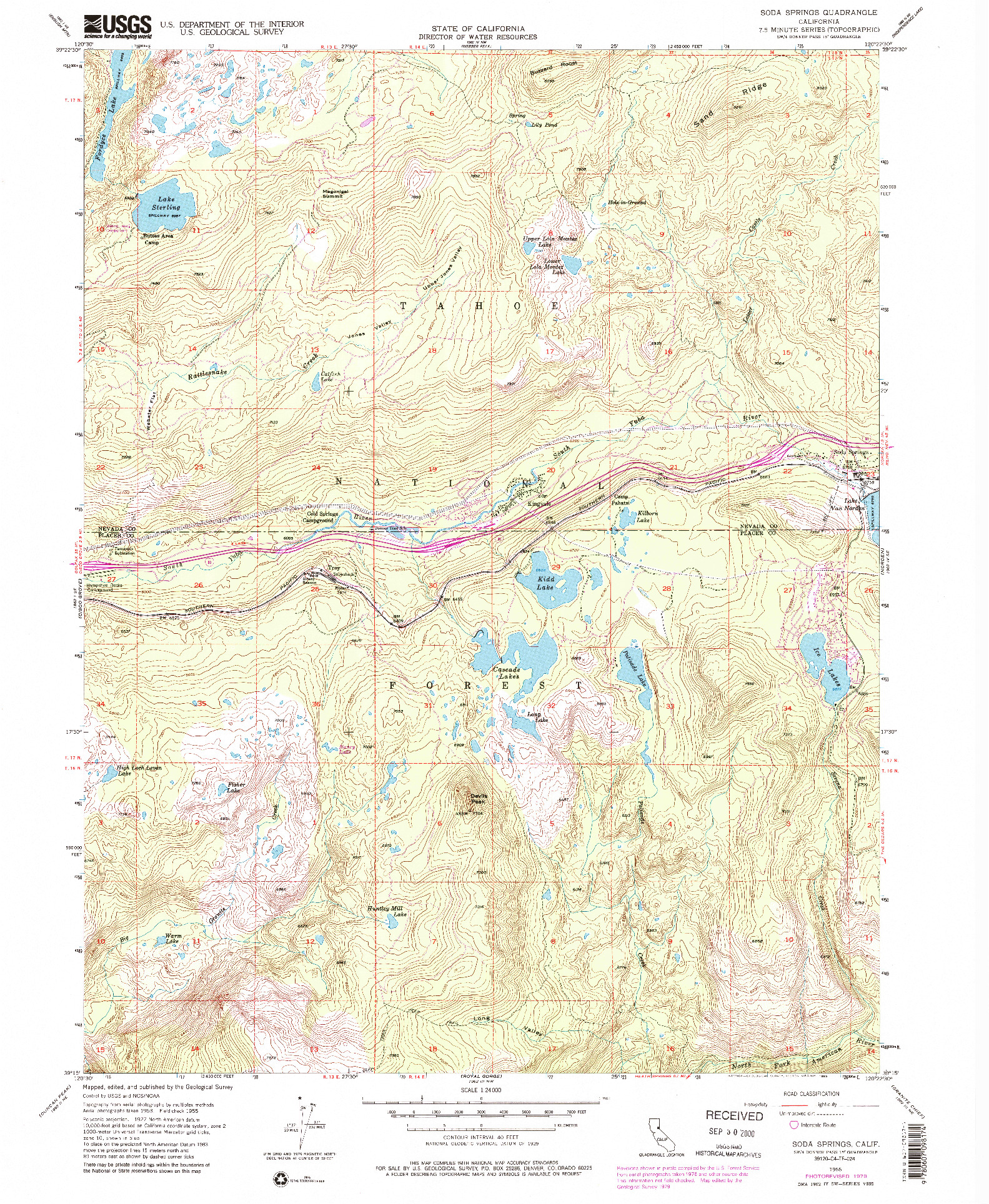 USGS 1:24000-SCALE QUADRANGLE FOR SODA SPRINGS, CA 1955