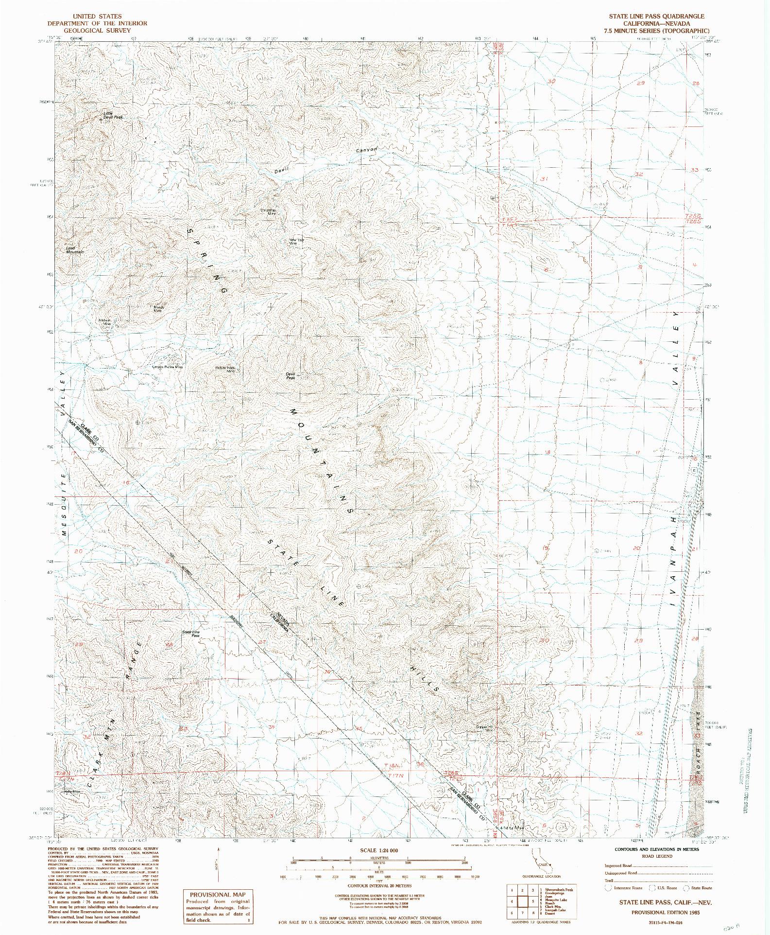 USGS 1:24000-SCALE QUADRANGLE FOR STATE LINE PASS, CA 1985