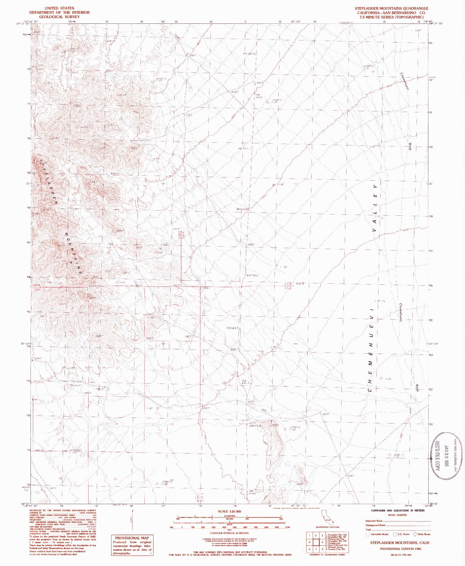 USGS 1:24000-SCALE QUADRANGLE FOR STEPLADDER MOUNTAINS, CA 1985