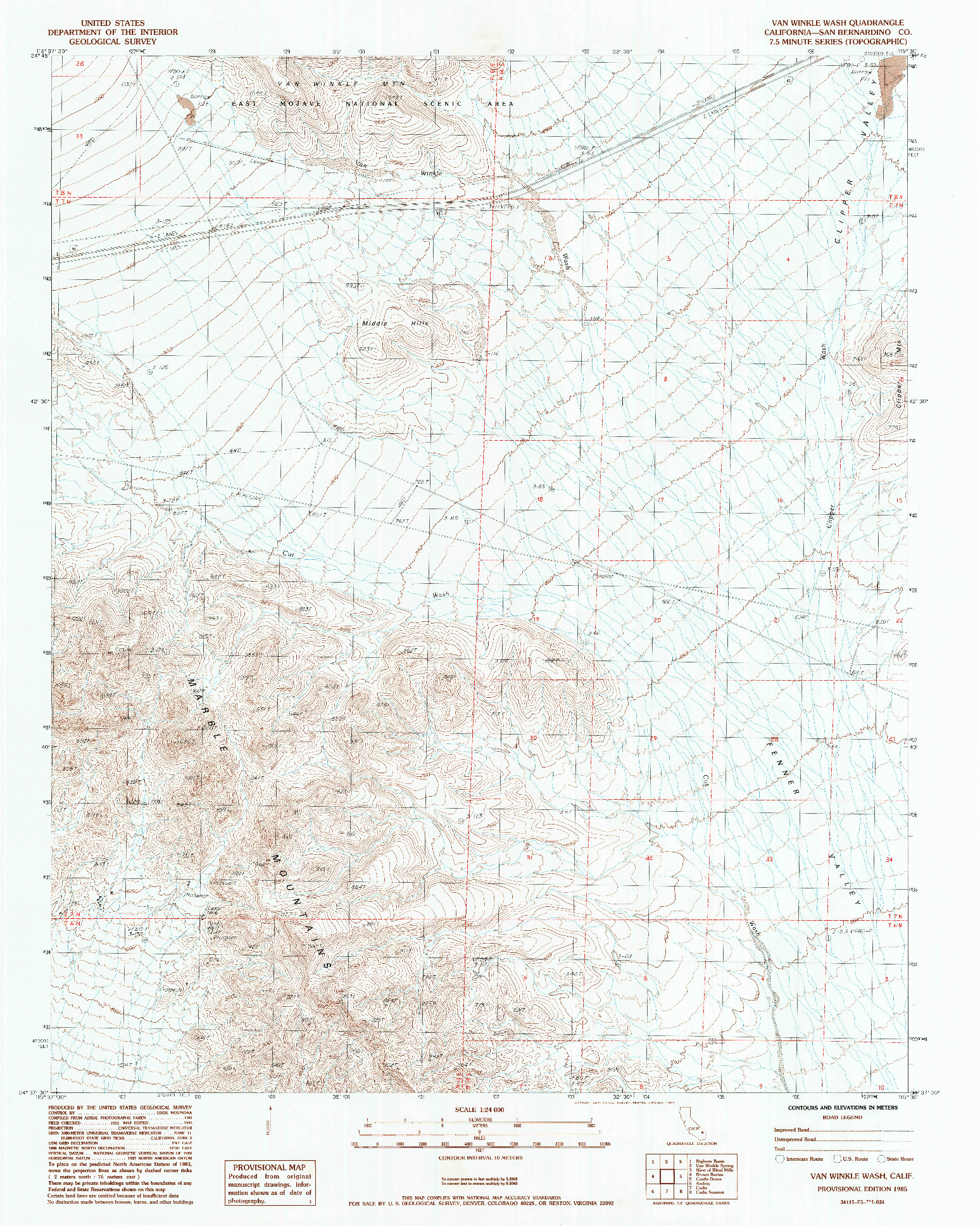 USGS 1:24000-SCALE QUADRANGLE FOR VAN WINKLE WASH, CA 1985