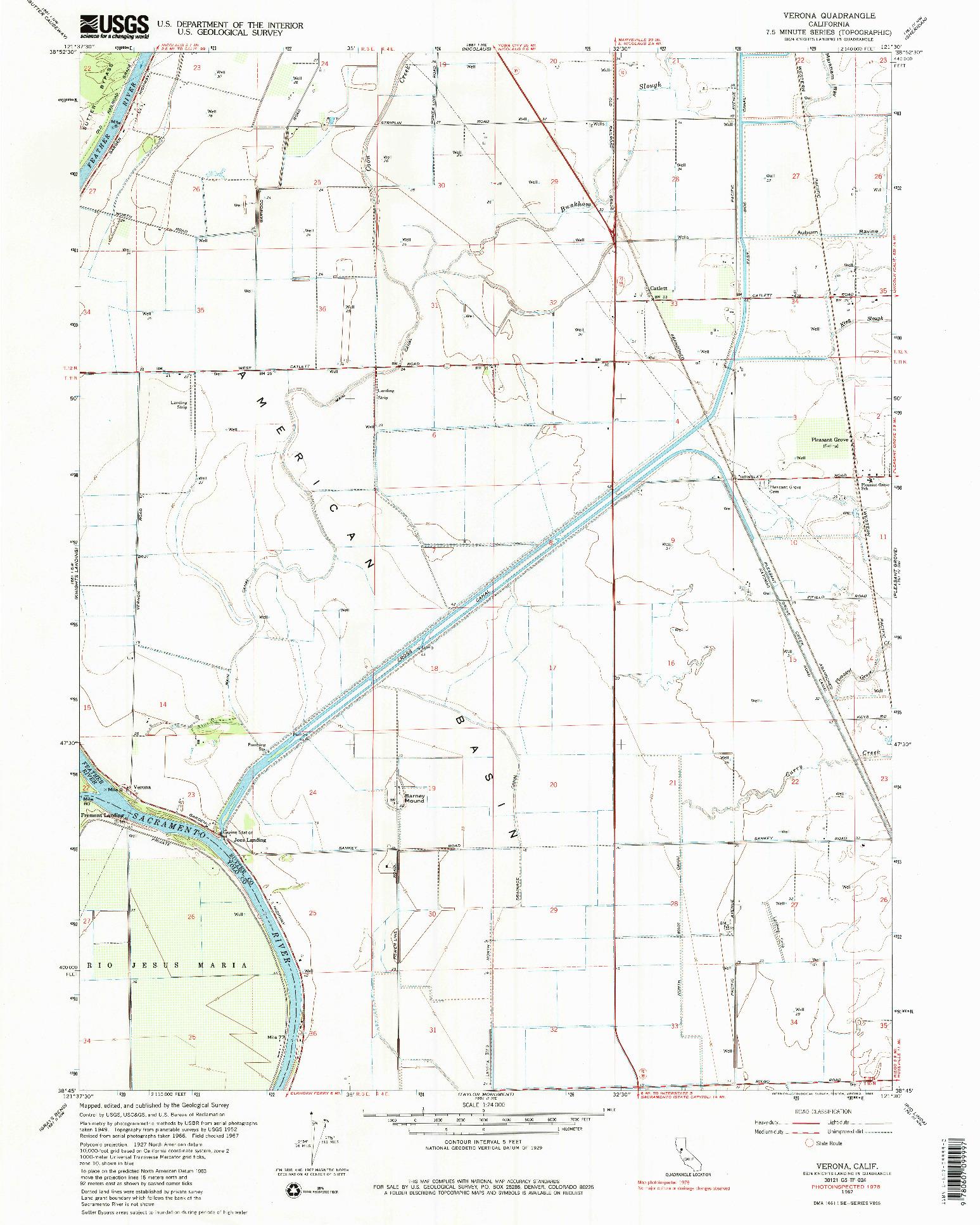 USGS 1:24000-SCALE QUADRANGLE FOR VERONA, CA 1967
