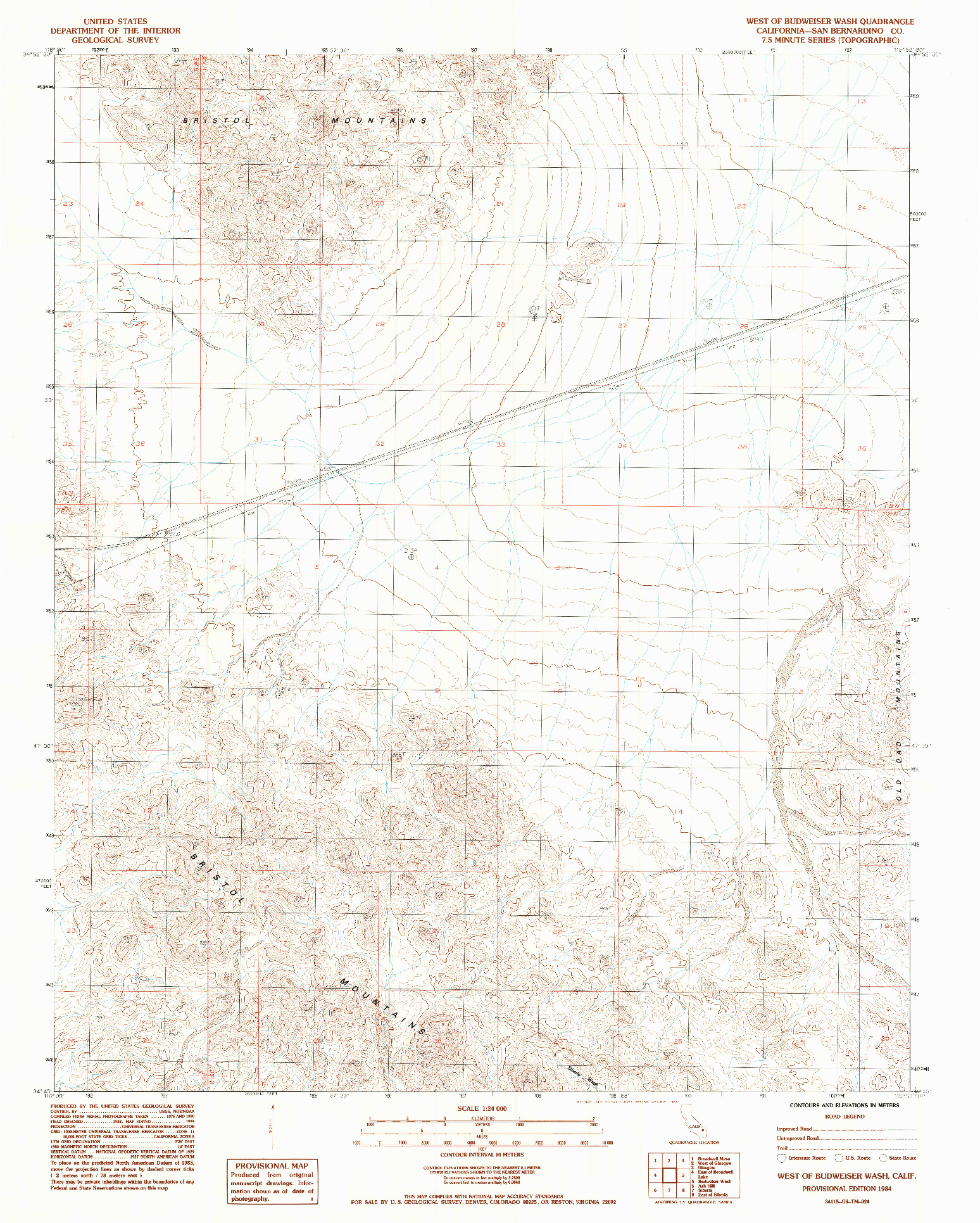 USGS 1:24000-SCALE QUADRANGLE FOR WEST OF BUDWEISER WASH, CA 1984