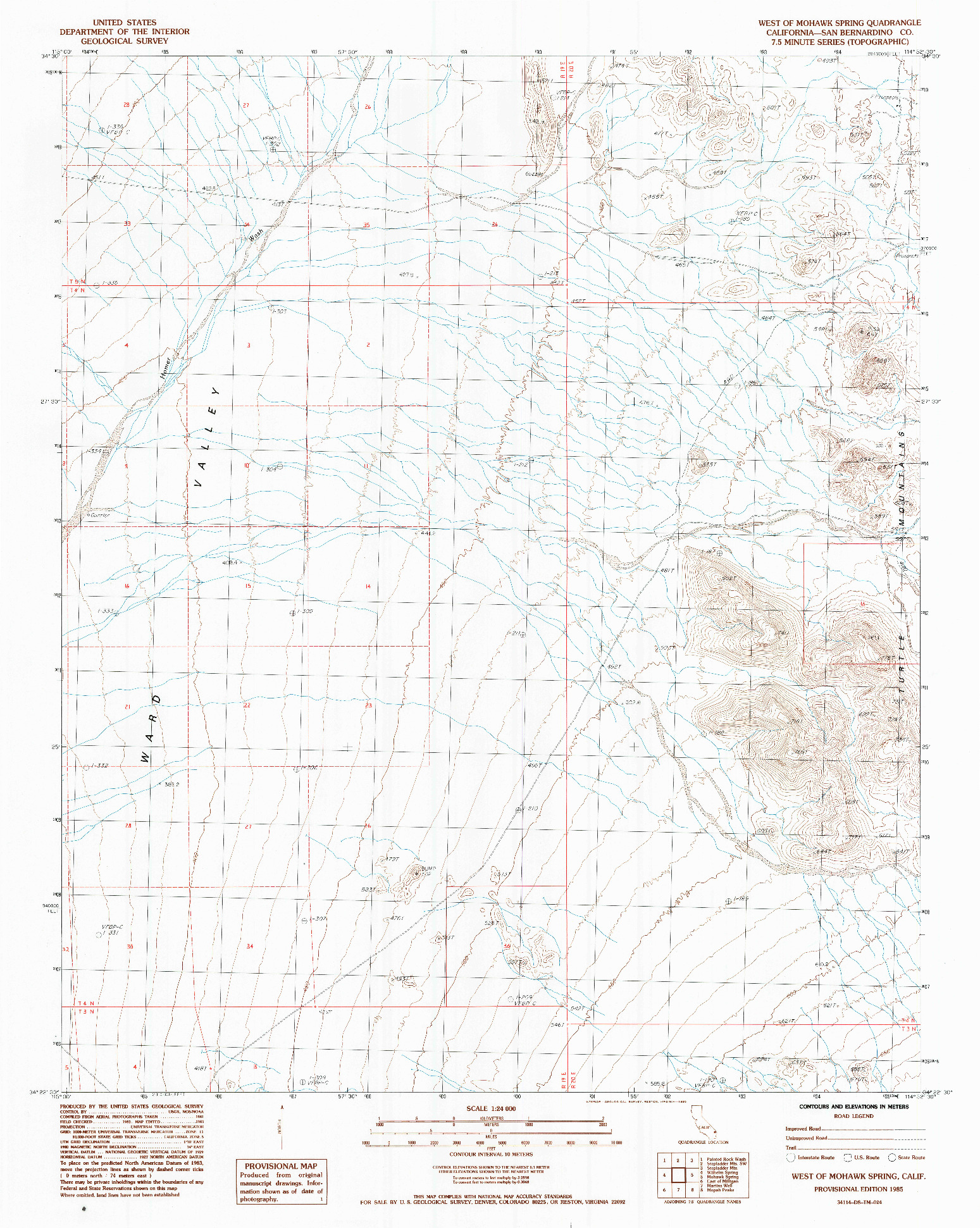USGS 1:24000-SCALE QUADRANGLE FOR WEST OF MOHAWK SPRING, CA 1985