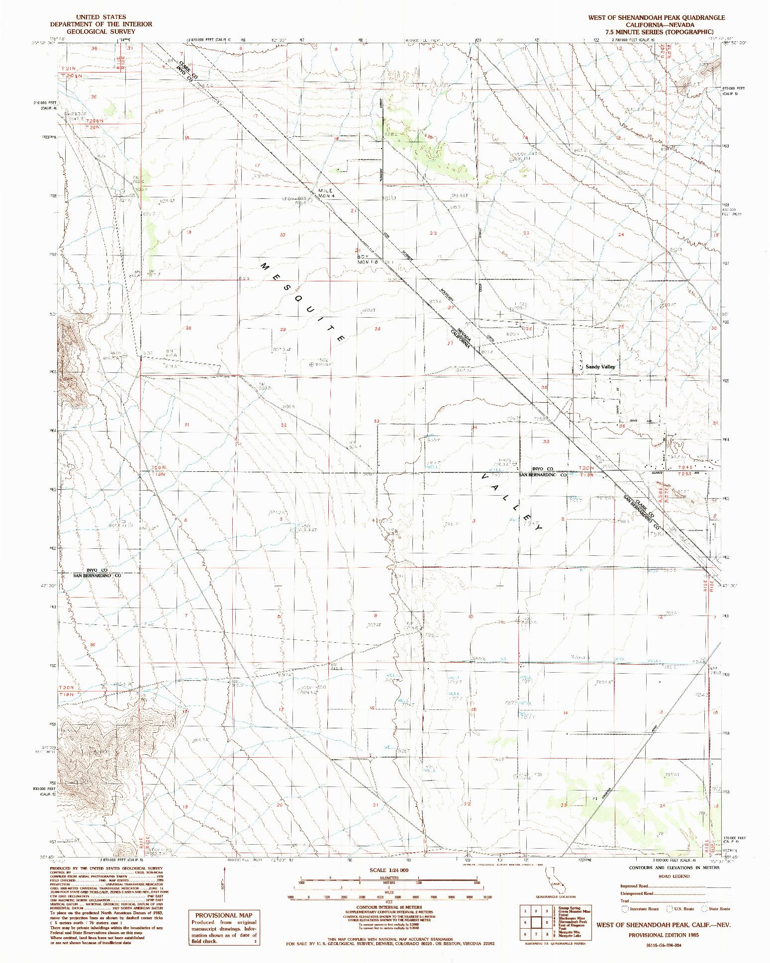 USGS 1:24000-SCALE QUADRANGLE FOR WEST OF SHENANDOAH PEAK, CA 1985