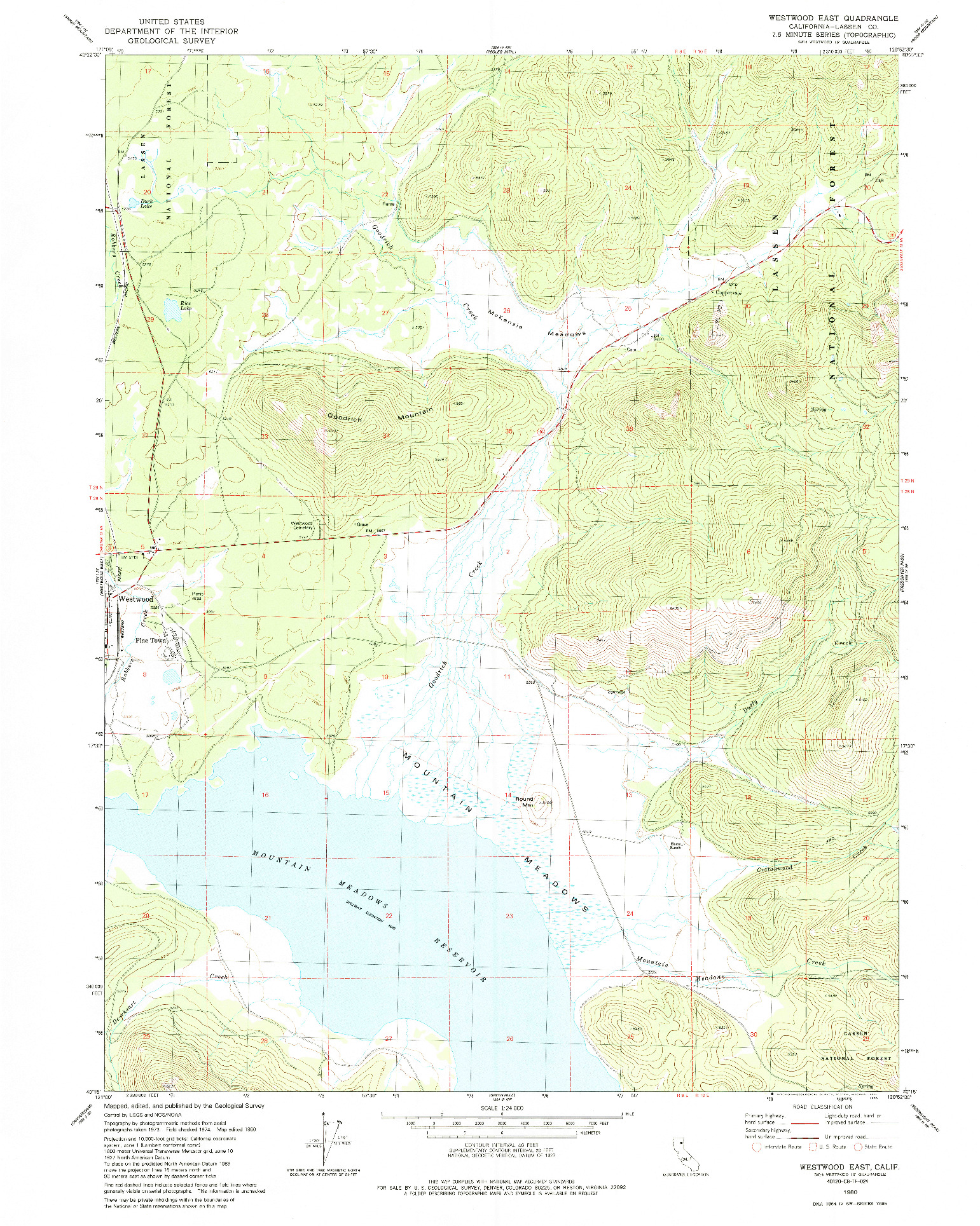USGS 1:24000-SCALE QUADRANGLE FOR WESTWOOD EAST, CA 1980