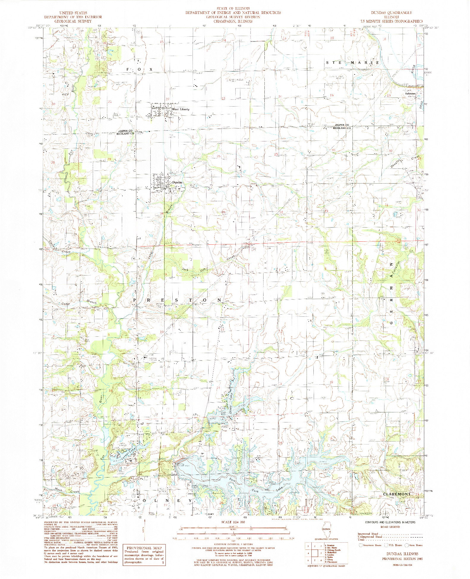 USGS 1:24000-SCALE QUADRANGLE FOR DUNDAS, IL 1985