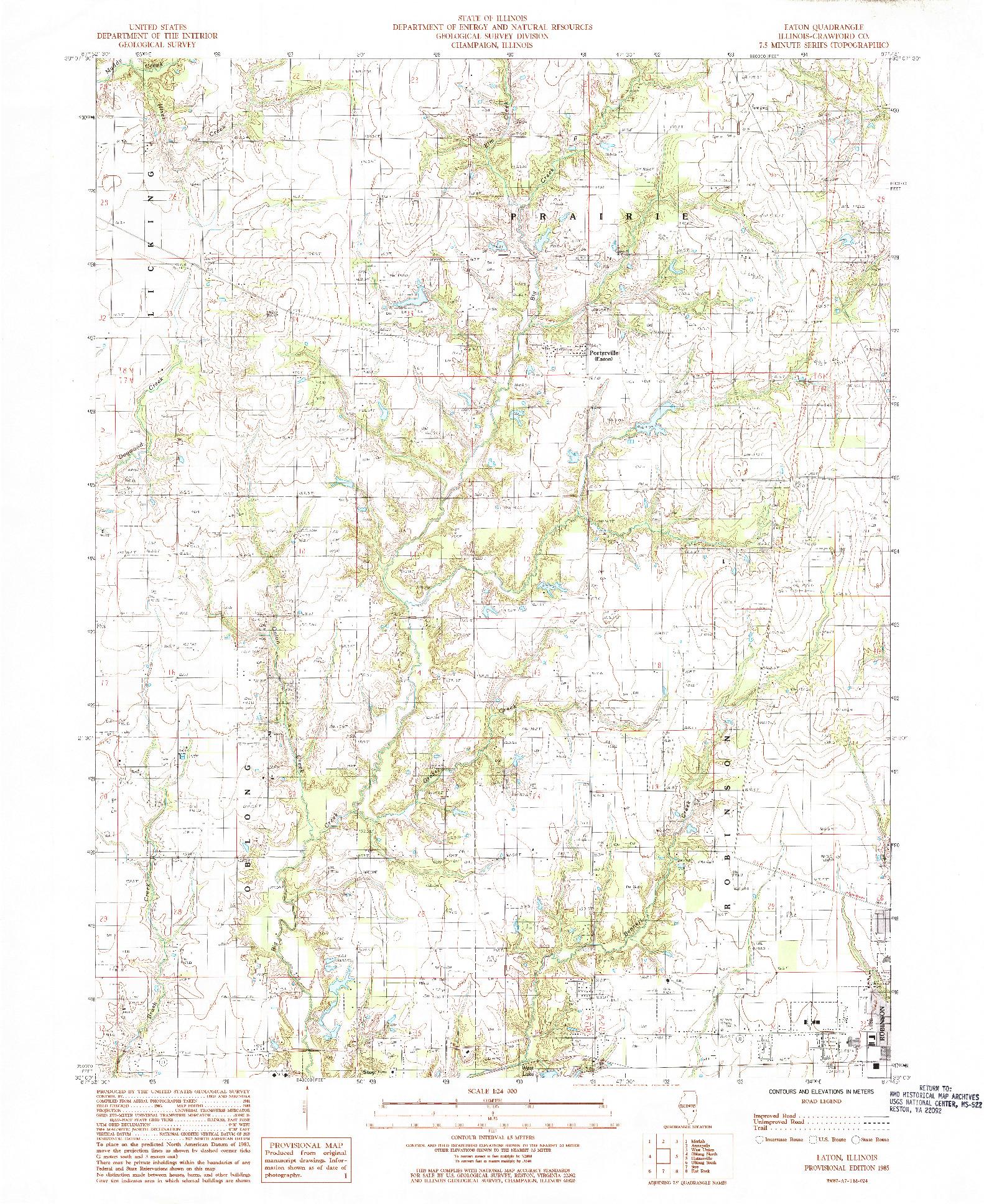 USGS 1:24000-SCALE QUADRANGLE FOR EATON, IL 1985