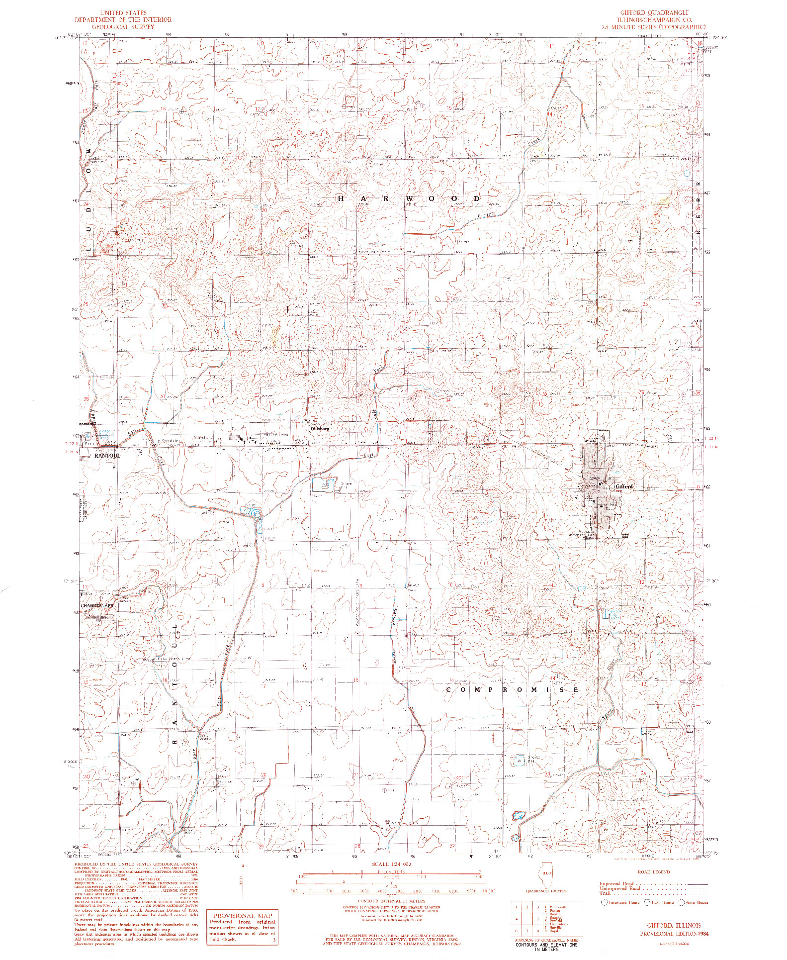 USGS 1:24000-SCALE QUADRANGLE FOR GIFFORD, IL 1984