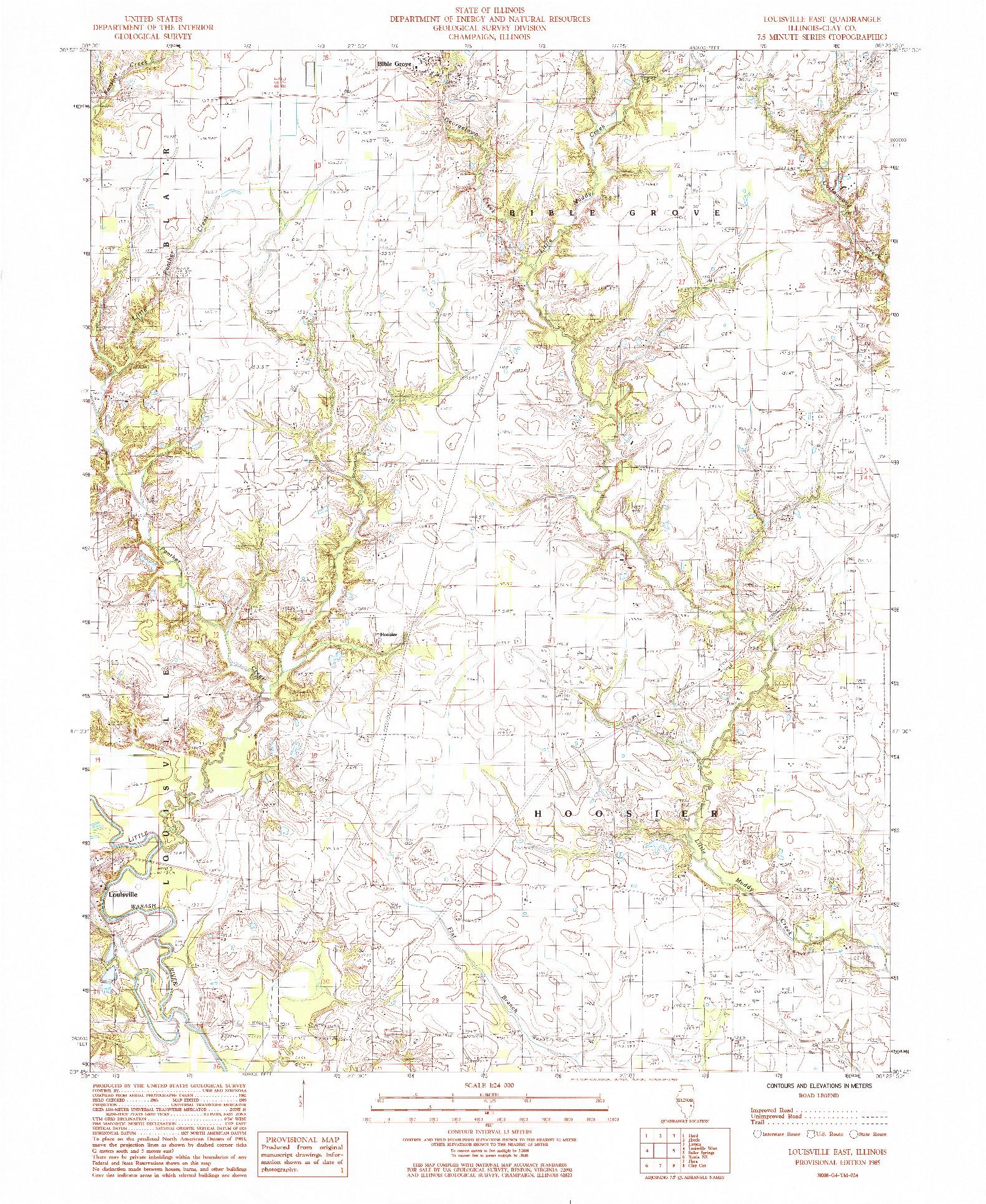 USGS 1:24000-SCALE QUADRANGLE FOR LOUISVILLE EAST, IL 1985