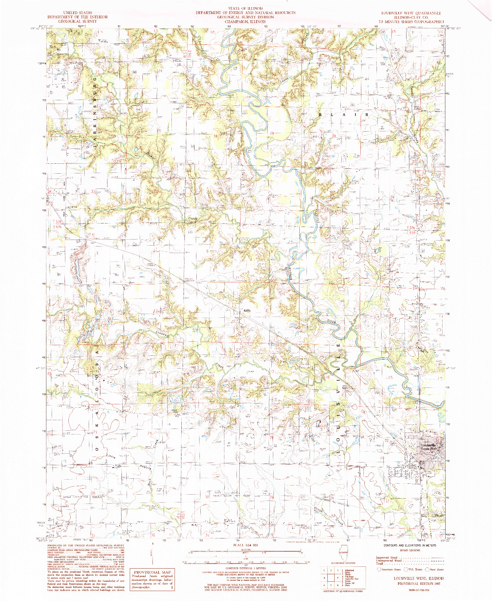 USGS 1:24000-SCALE QUADRANGLE FOR LOUISVILLE WEST, IL 1985