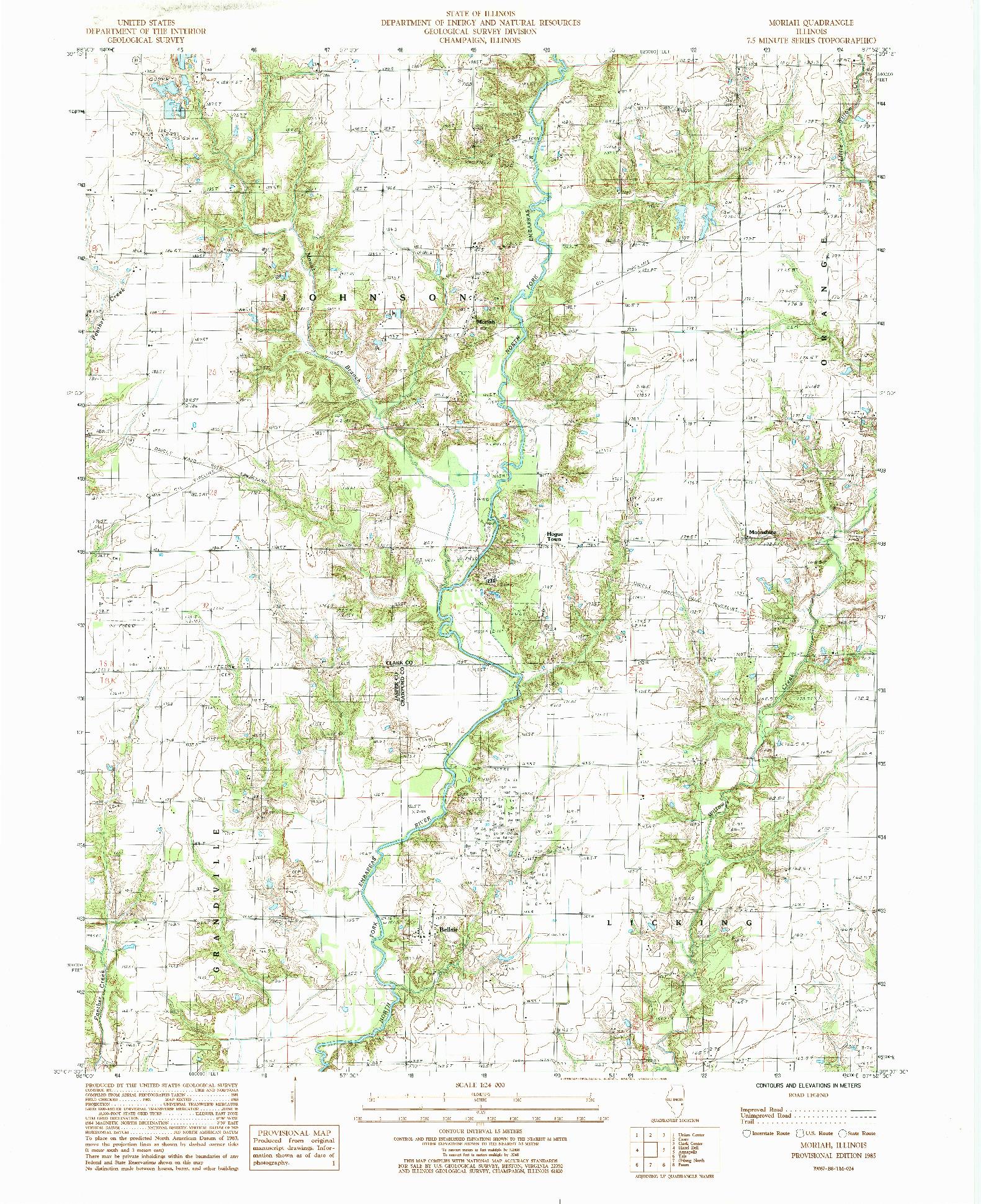 USGS 1:24000-SCALE QUADRANGLE FOR MORIAH, IL 1985