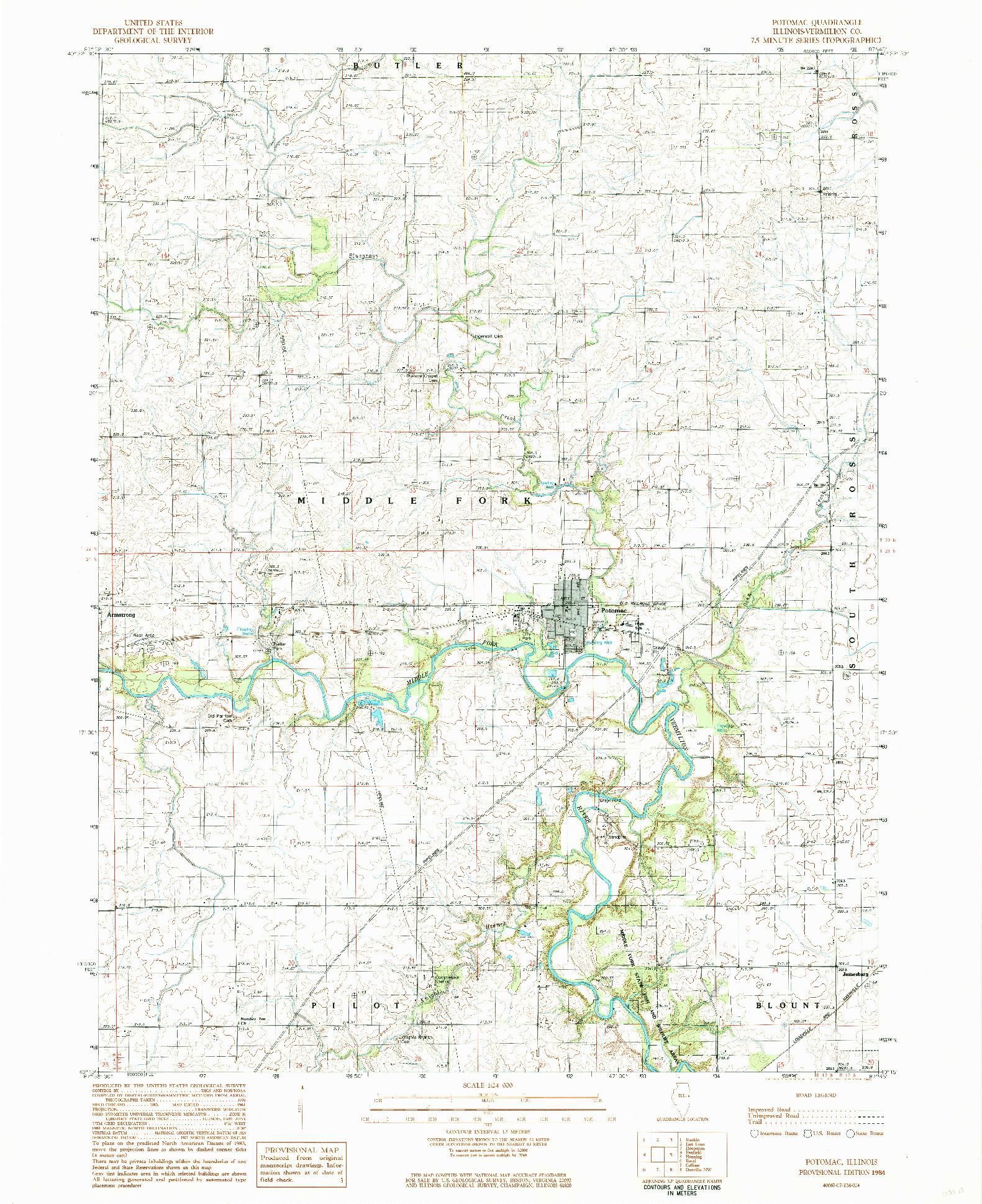 USGS 1:24000-SCALE QUADRANGLE FOR POTOMAC, IL 1984