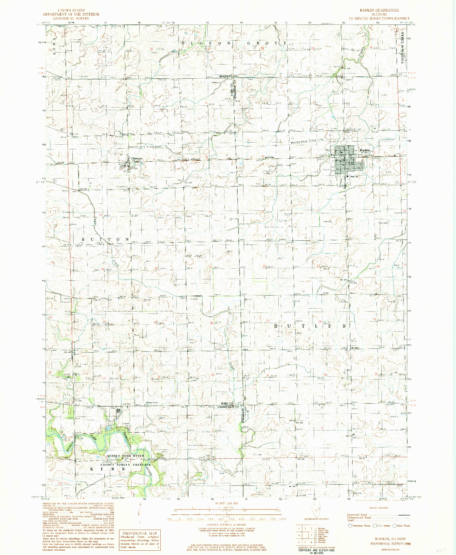 USGS 1:24000-SCALE QUADRANGLE FOR RANKIN, IL 1984
