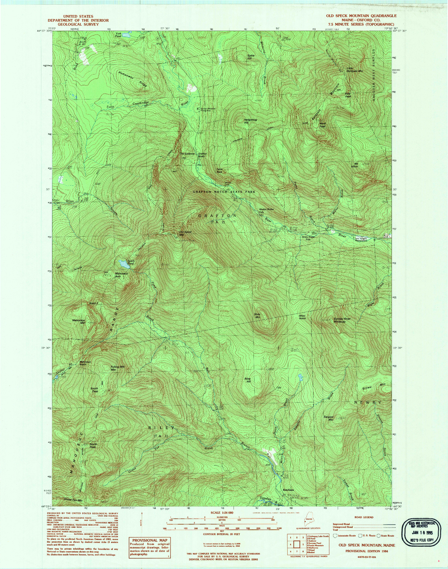 USGS 1:24000-SCALE QUADRANGLE FOR OLD SPECK MOUNTAIN, ME 1984