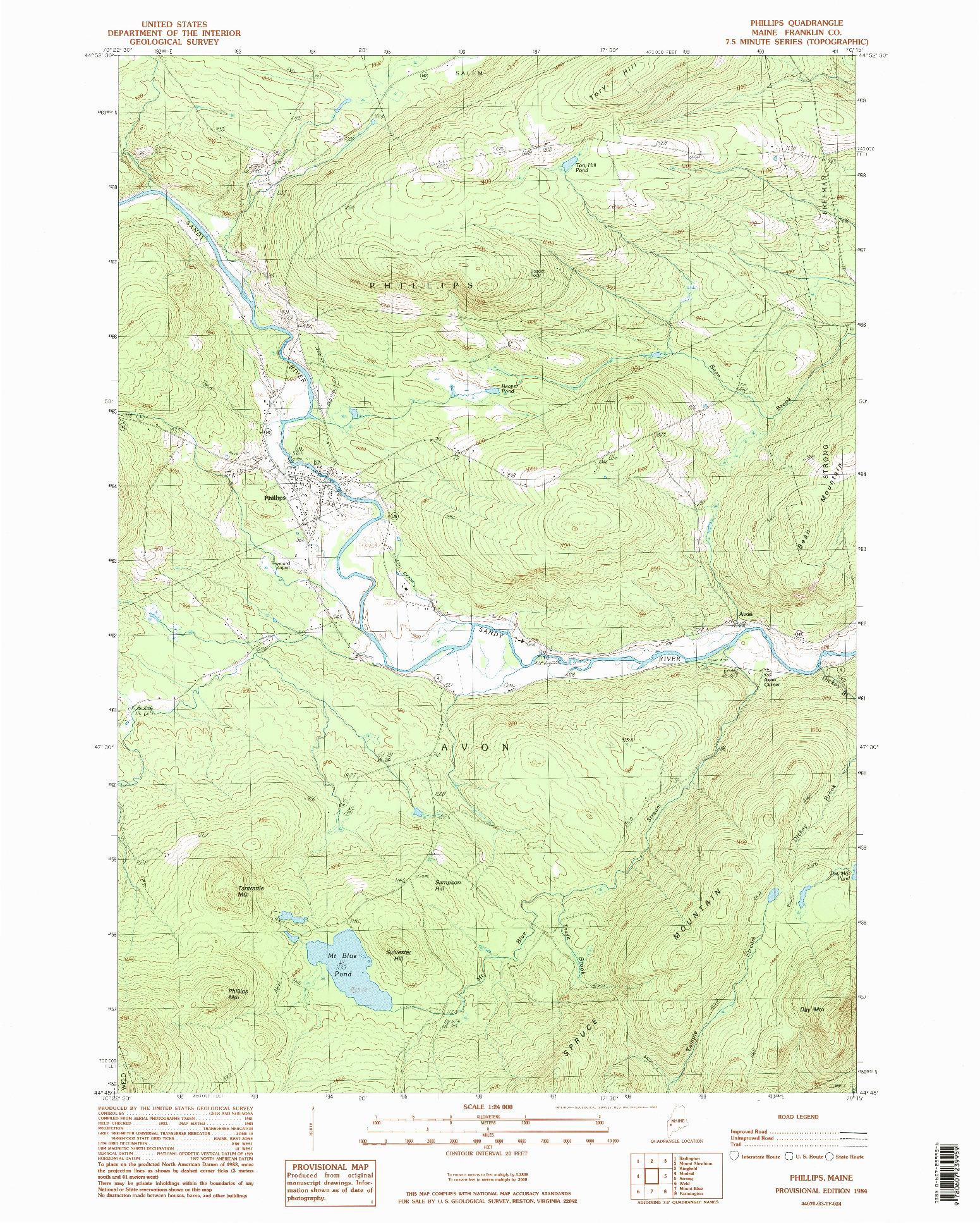 USGS 1:24000-SCALE QUADRANGLE FOR PHILLIPS, ME 1984