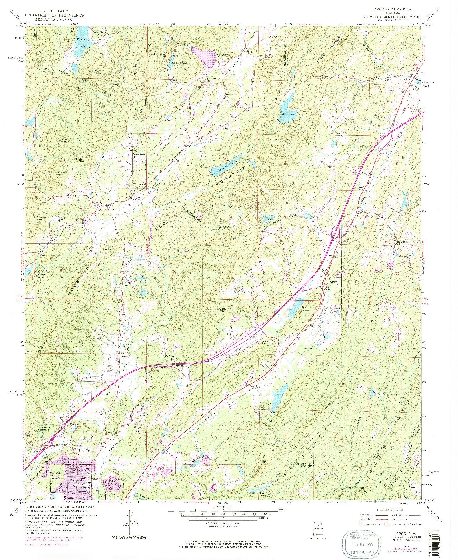 USGS 1:24000-SCALE QUADRANGLE FOR ARGO, AL 1959