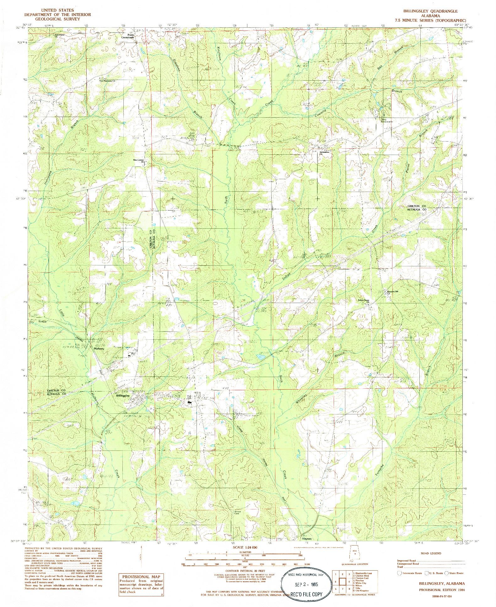 USGS 1:24000-SCALE QUADRANGLE FOR BILLINGSLEY, AL 1984