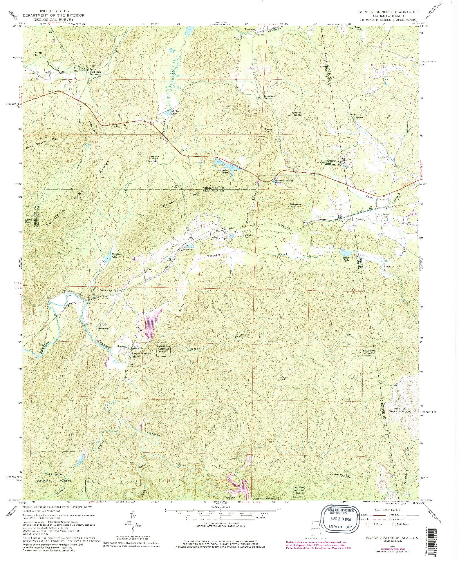 USGS 1:24000-SCALE QUADRANGLE FOR BORDEN SPRINGS, AL 1966