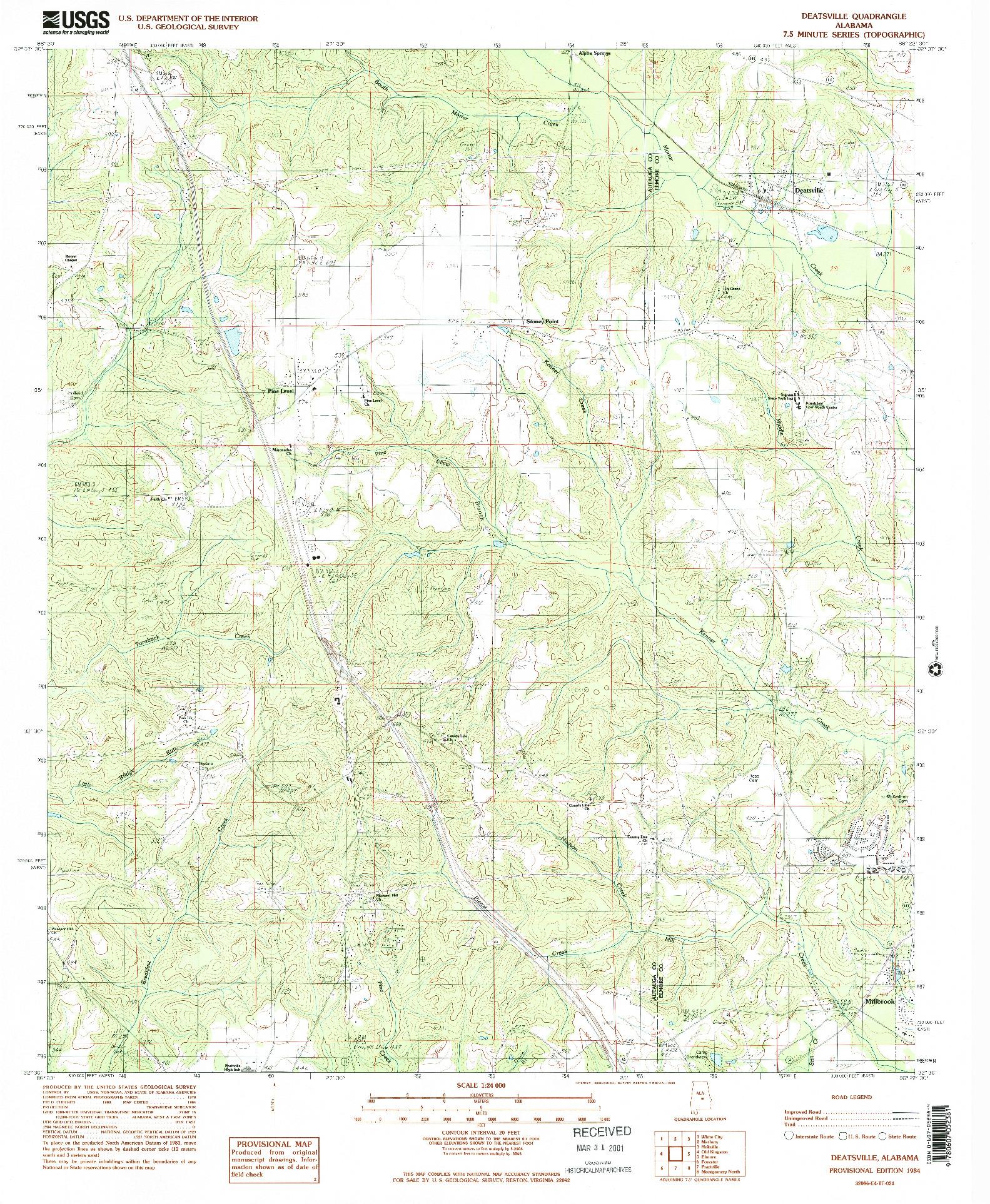 USGS 1:24000-SCALE QUADRANGLE FOR DEATSVILLE, AL 1984