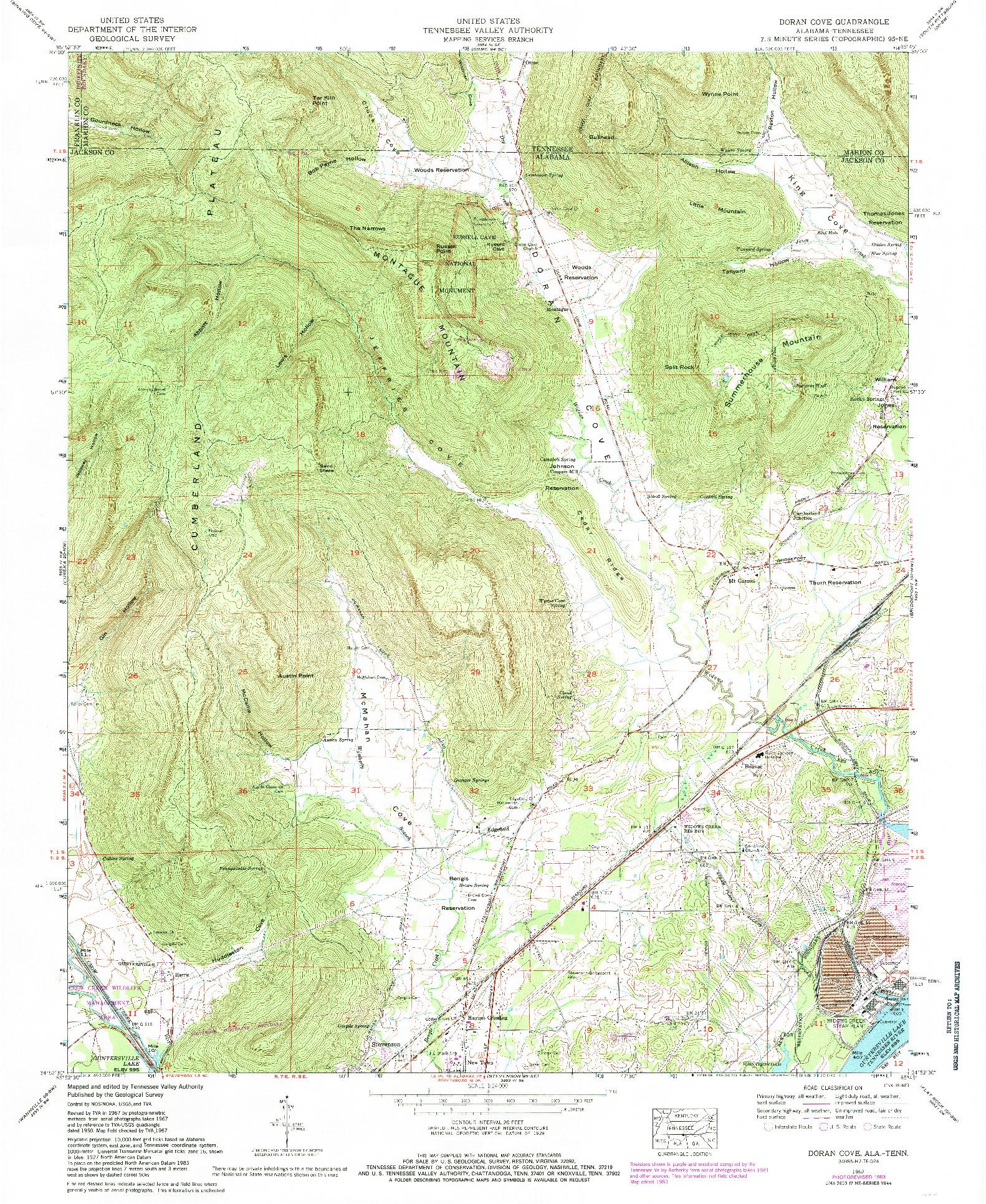 USGS 1:24000-SCALE QUADRANGLE FOR DORAN COVE, AL 1967