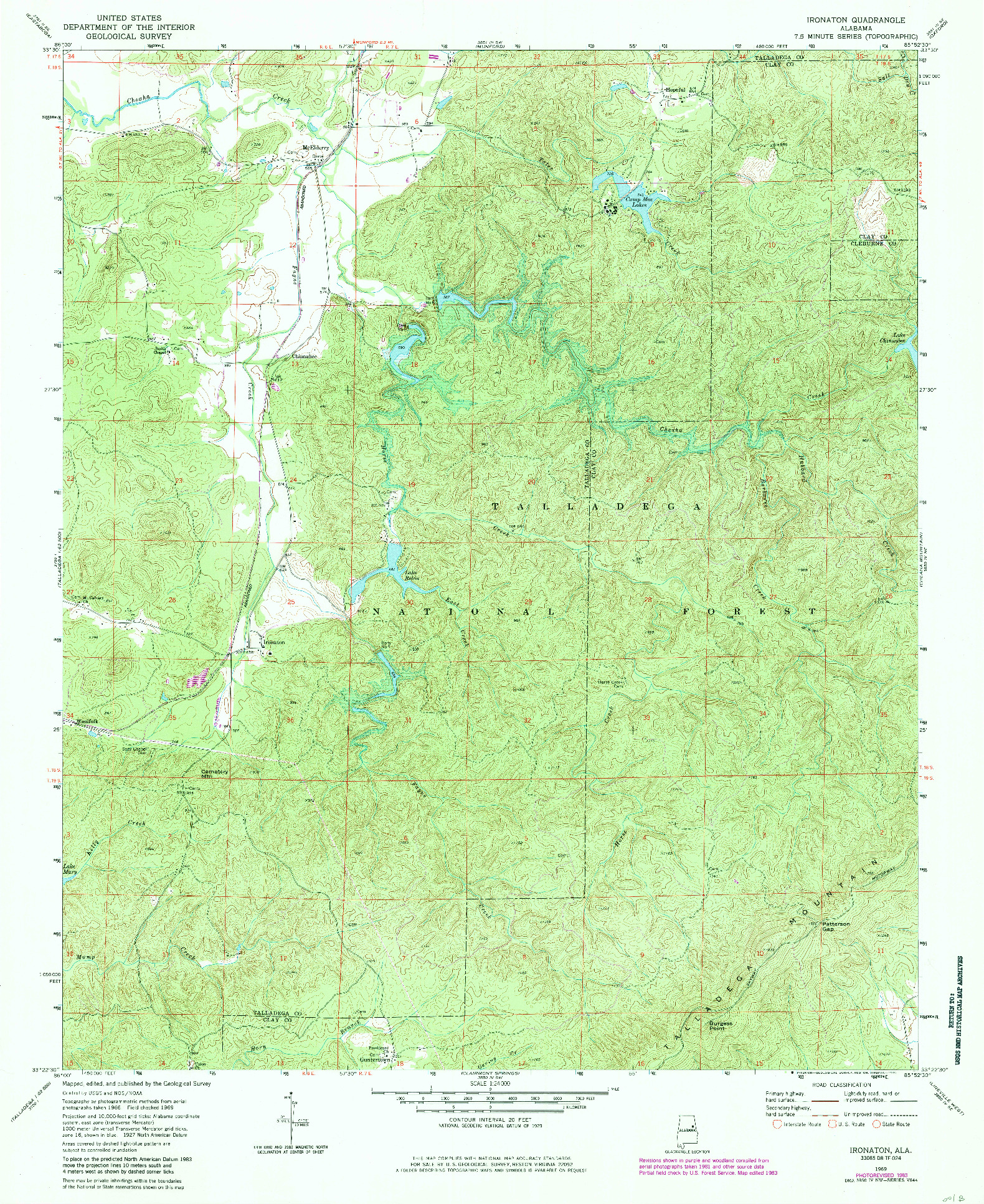 USGS 1:24000-SCALE QUADRANGLE FOR IRONATON, AL 1983
