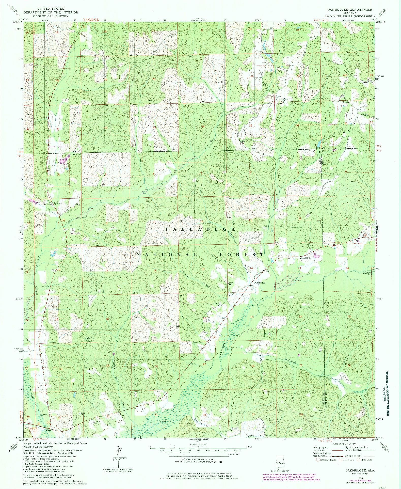 USGS 1:24000-SCALE QUADRANGLE FOR OAKMULGEE, AL 1980