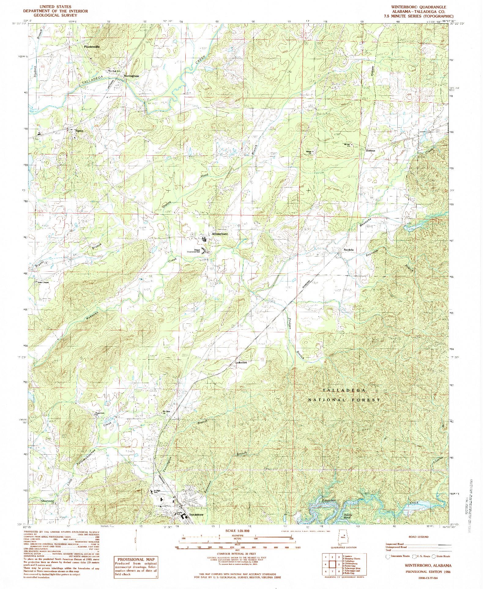 USGS 1:24000-SCALE QUADRANGLE FOR WINTERBORO, AL 1984