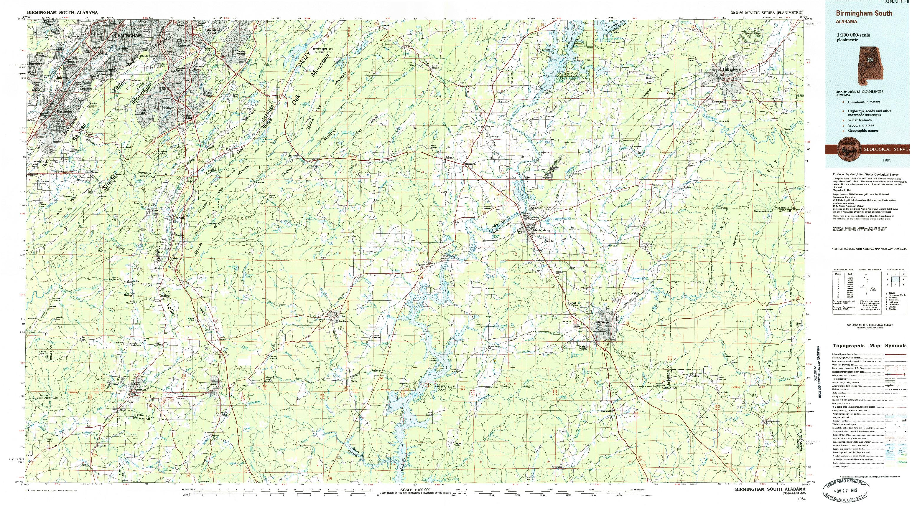 USGS 1:100000-SCALE QUADRANGLE FOR BIRMINGHAM SOUTH, AL 1984