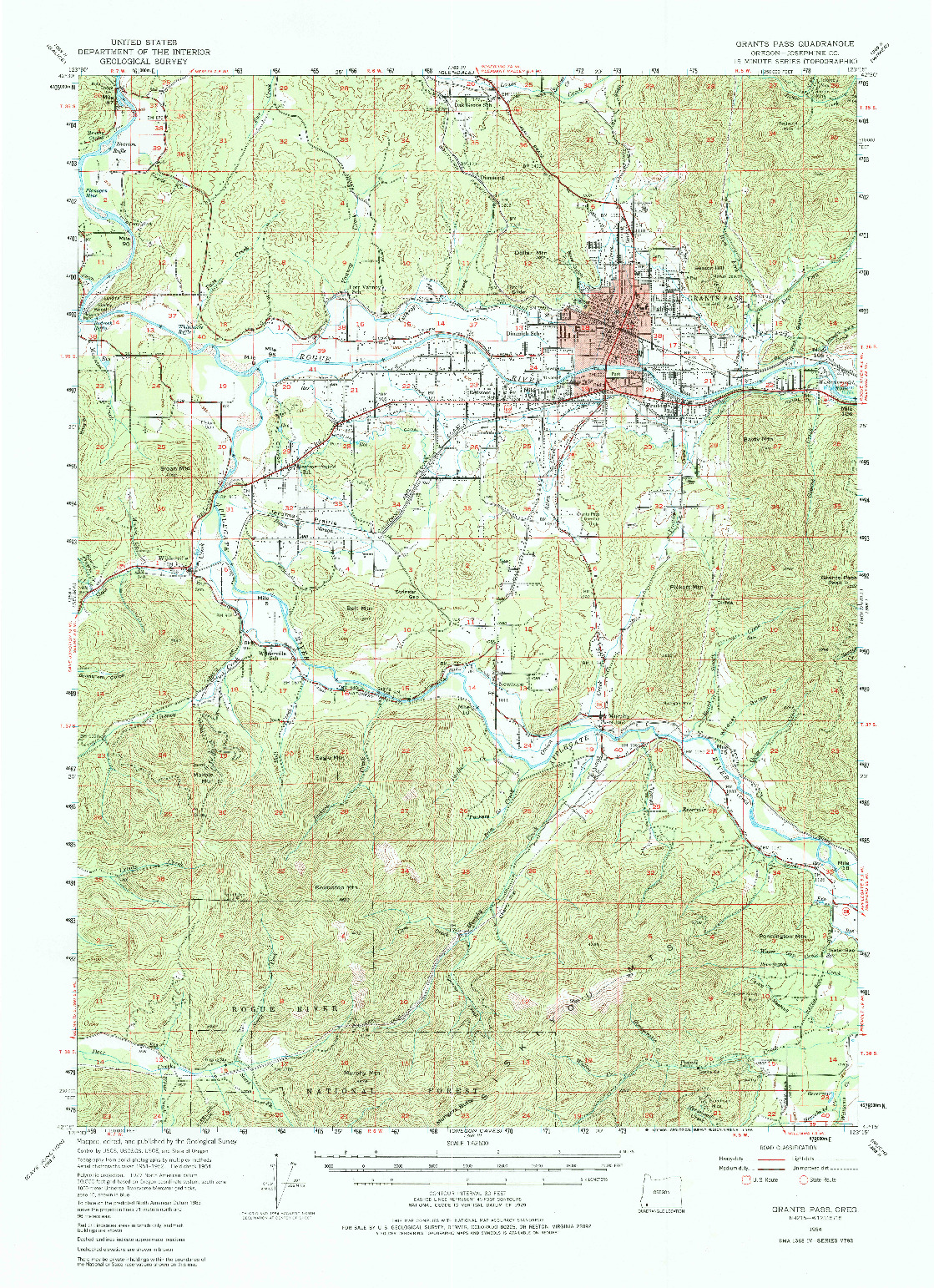 USGS 1:62500-SCALE QUADRANGLE FOR GRANTS PASS, OR 1954